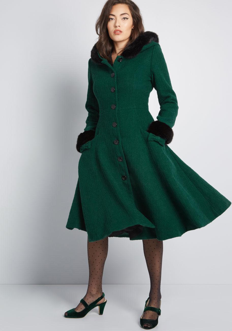 573c3d6d04c Lyst - Collectif X Mc Winsome Warmth Fit And Flare Coat in Green
