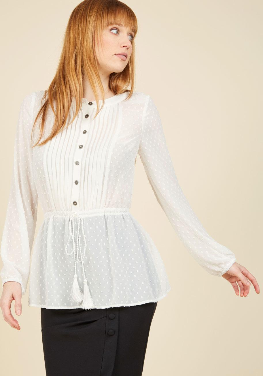 bac56e401ed Lyst - ModCloth Adored Aesthetic Button-up Top In Eggshell in White