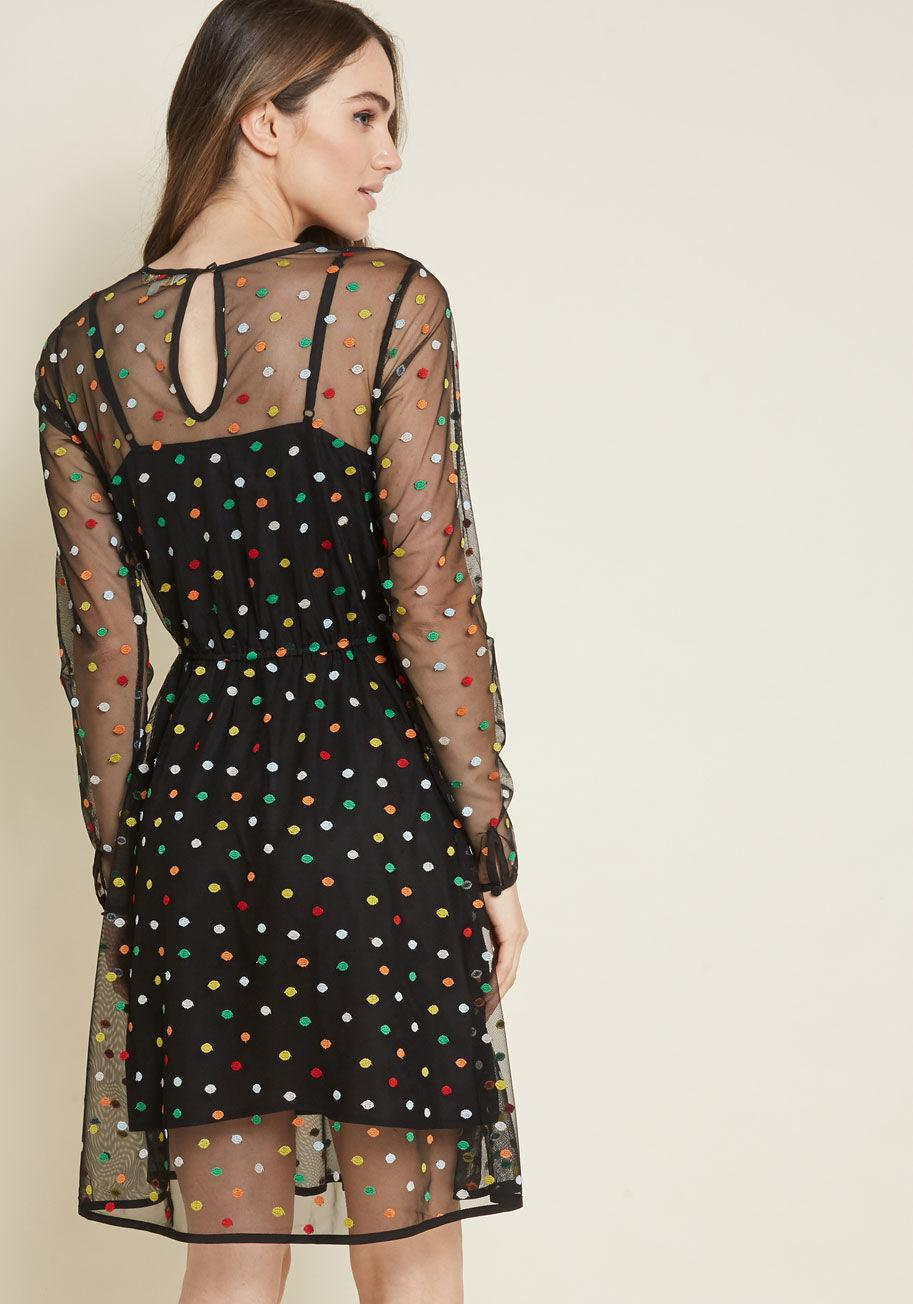 83147ace1dbe3 ModCloth Dazzle Do It Dotted Dress in Black - Lyst