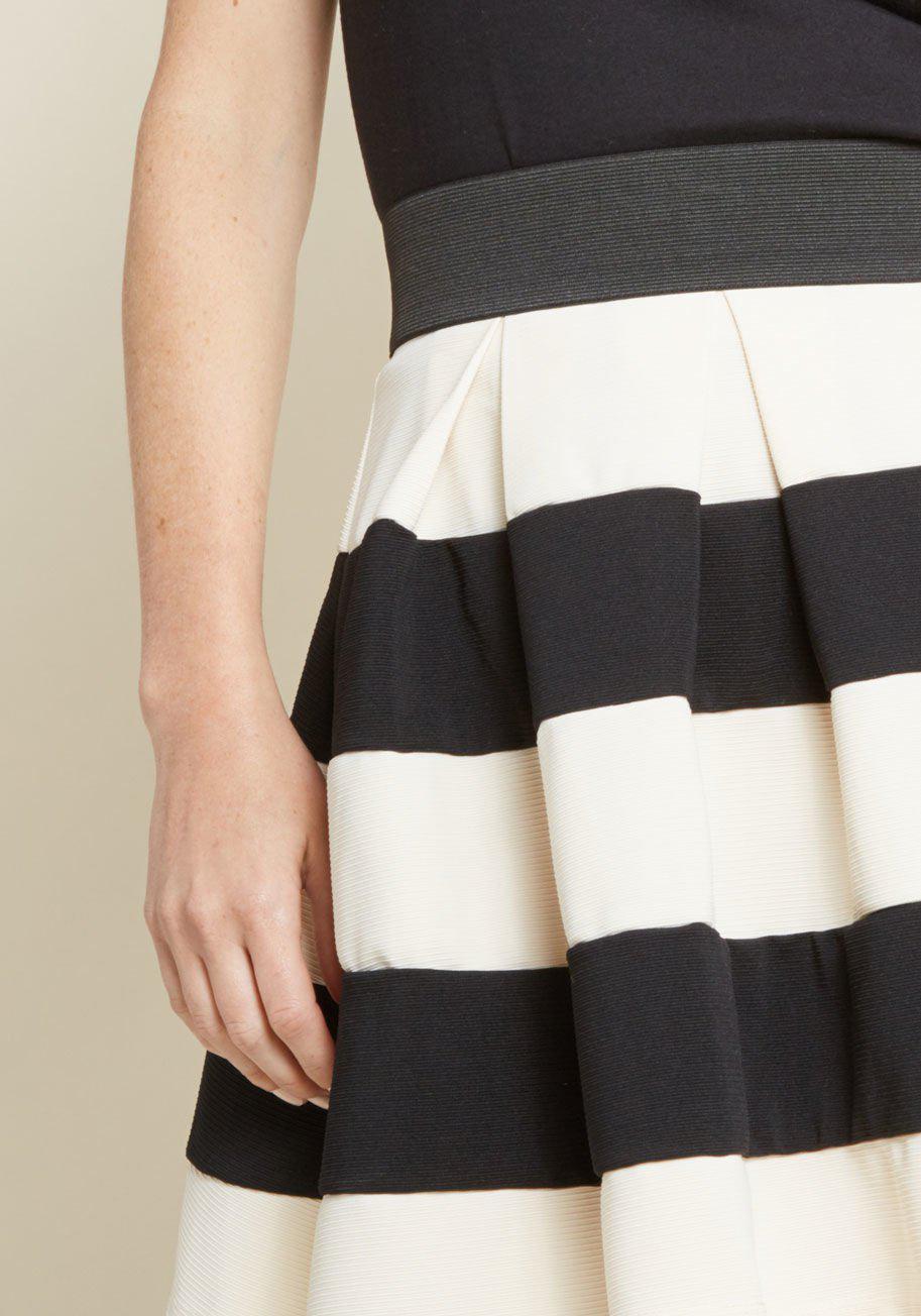 Modcloth Stripe It Lucky Skater Skirt In Black Lyst