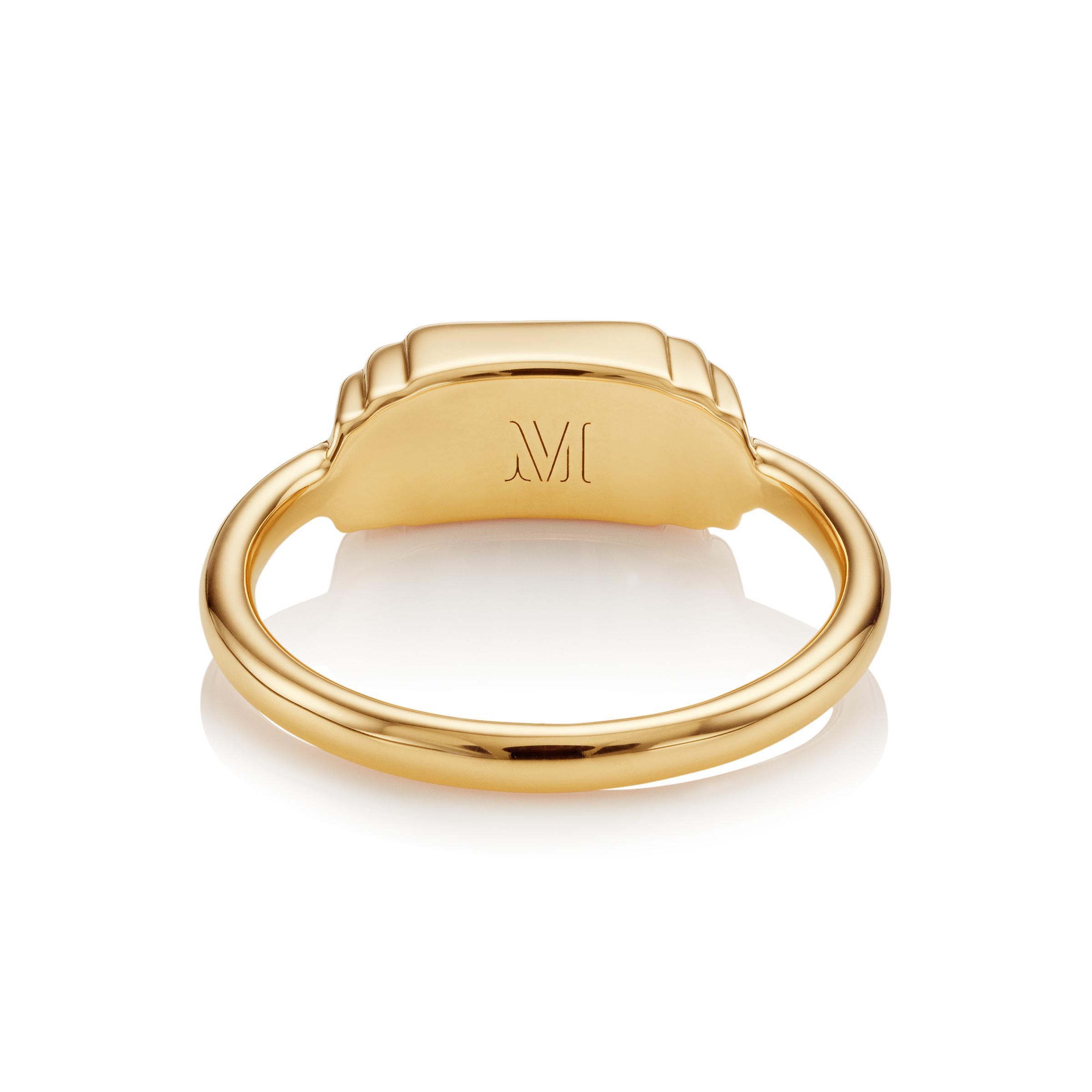 Monica Vinader Baja Deco Diamond Ring in Metallic