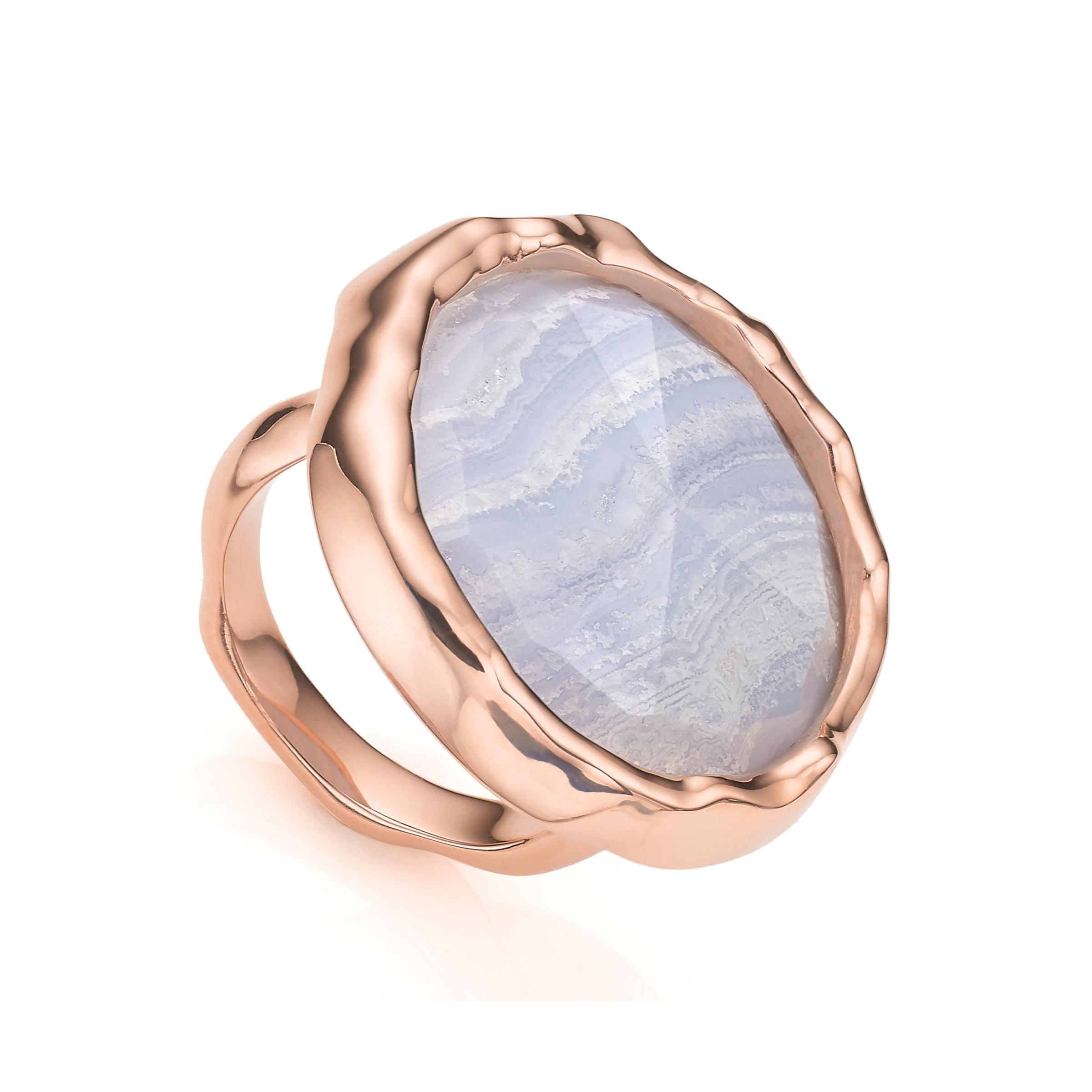 Rose Gold Siren Cocktail Round Ring Blue Lace Agate Monica Vinader QnsAc