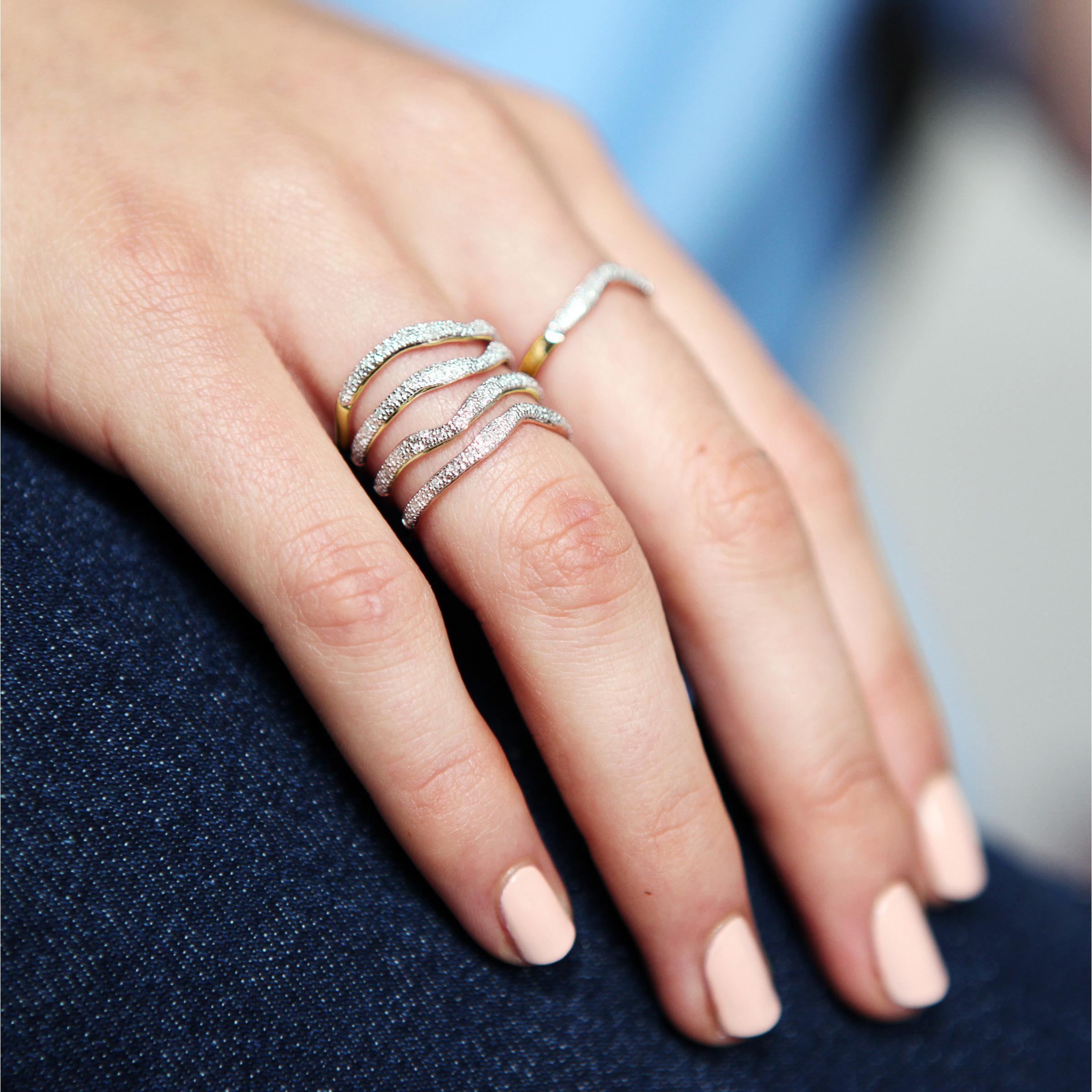 Rose Gold Riva Diamond Wave Triple Ring Diamond Monica Vinader GVFK7U3