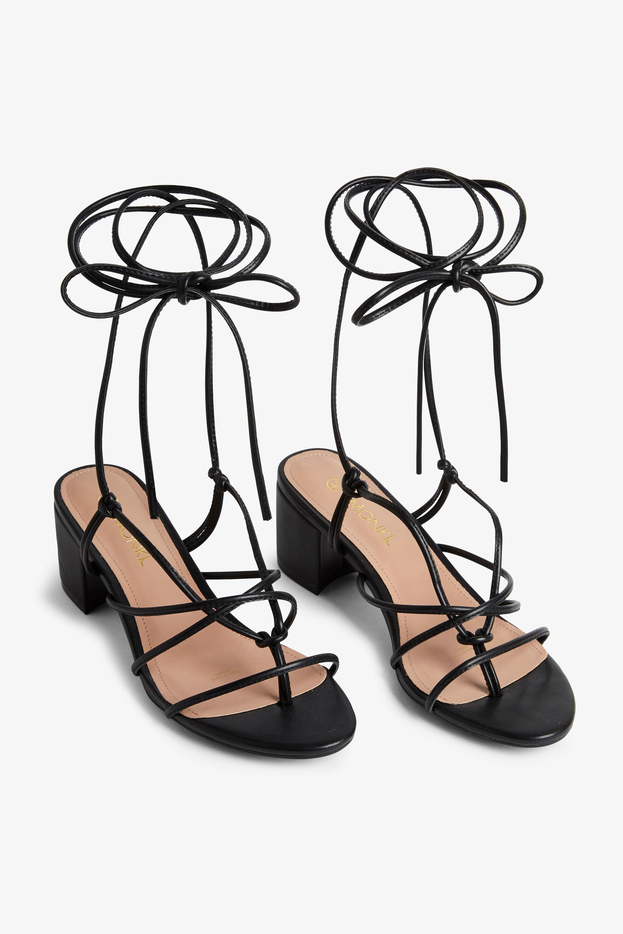a7dede7371e2 Monki Heeled Ankle-wrap Sandal in Black - Lyst