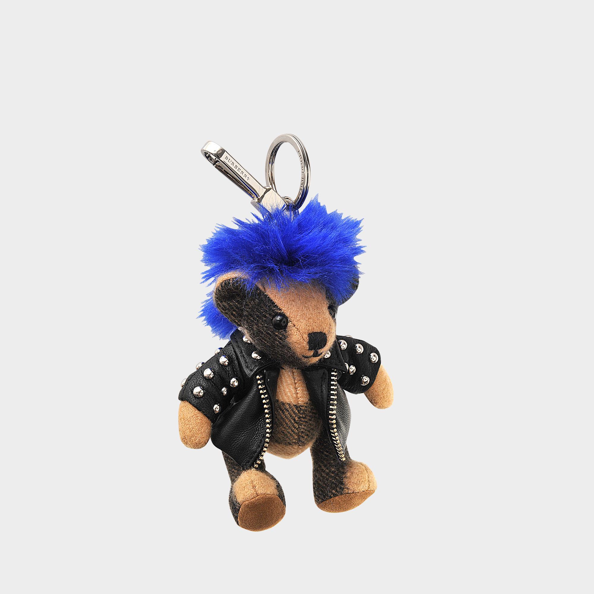 Burberry Thomas Accessoire De Sac De Charme Punk Broche En Cachemire Bleu FWROW9lQe5