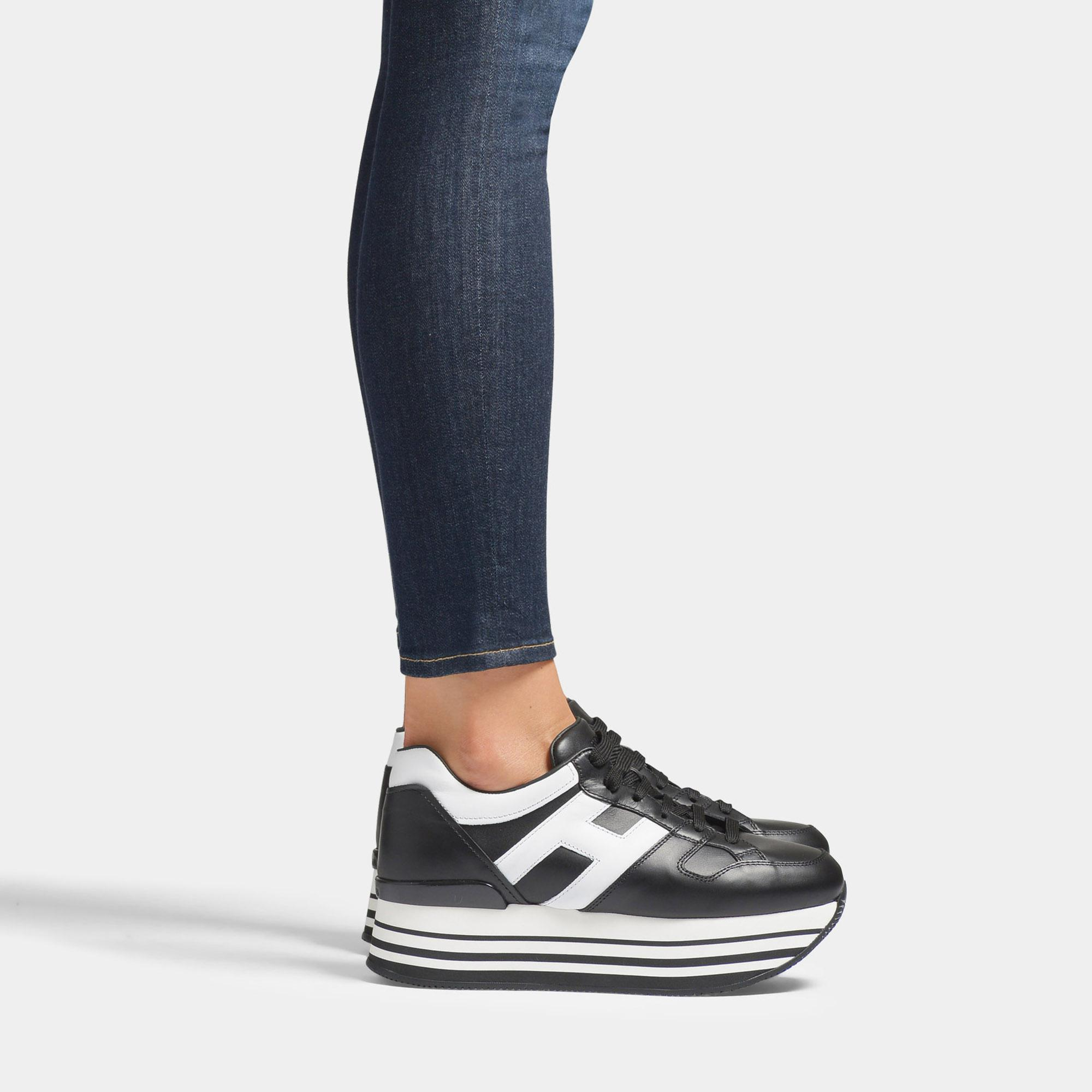 Hogan Maxi Platform Sneakers In Black And White Smooth Calfskin - Lyst