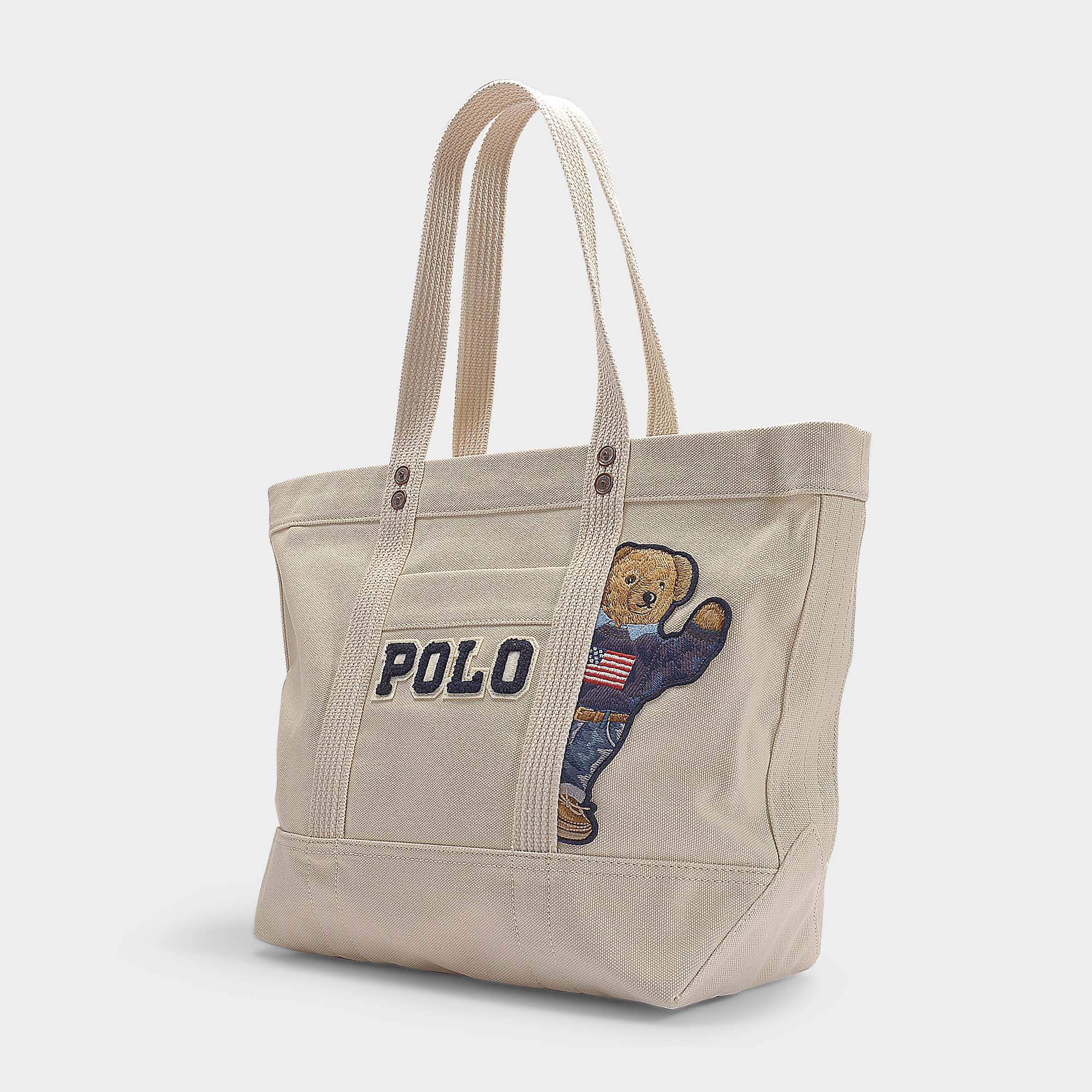 c68a1543bf Polo Ralph Lauren Small Pp Tote Teddy Bear In Cream Canvas in ...