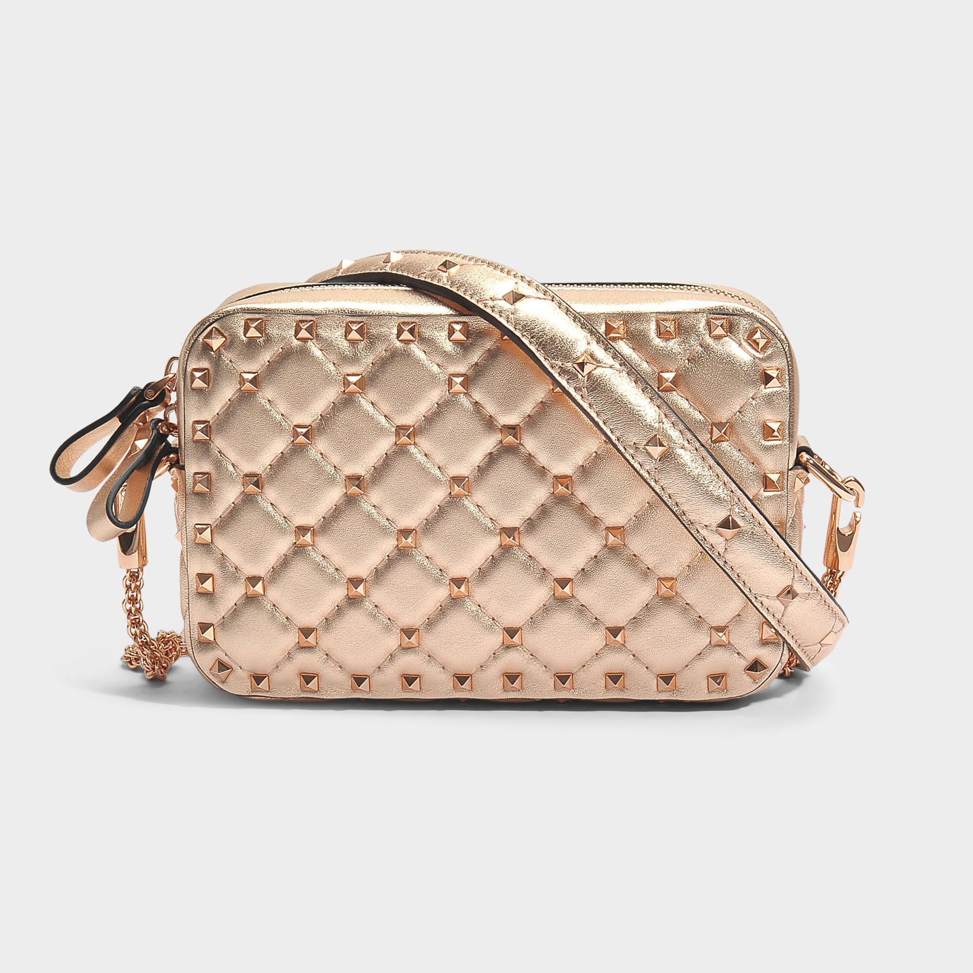 Metallic Rockstud Spike Crossbody Bag in Gold Metallic Calf Valentino BGa5w