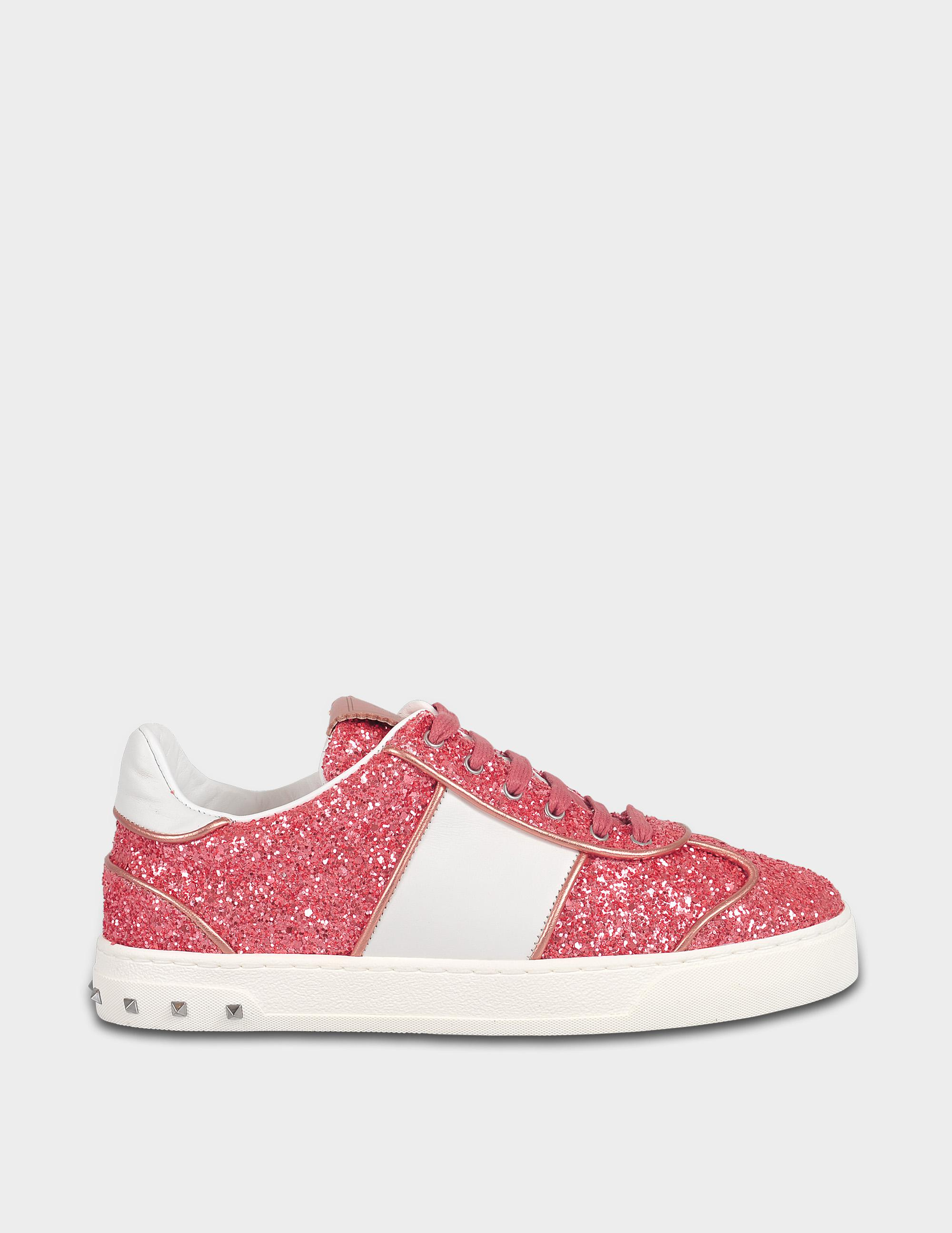 Fly Crex Glitter Sneakers in Shadow Pink Glitter and Calfskin Valentino Cheap Sale How Much sDbeZ8GKt
