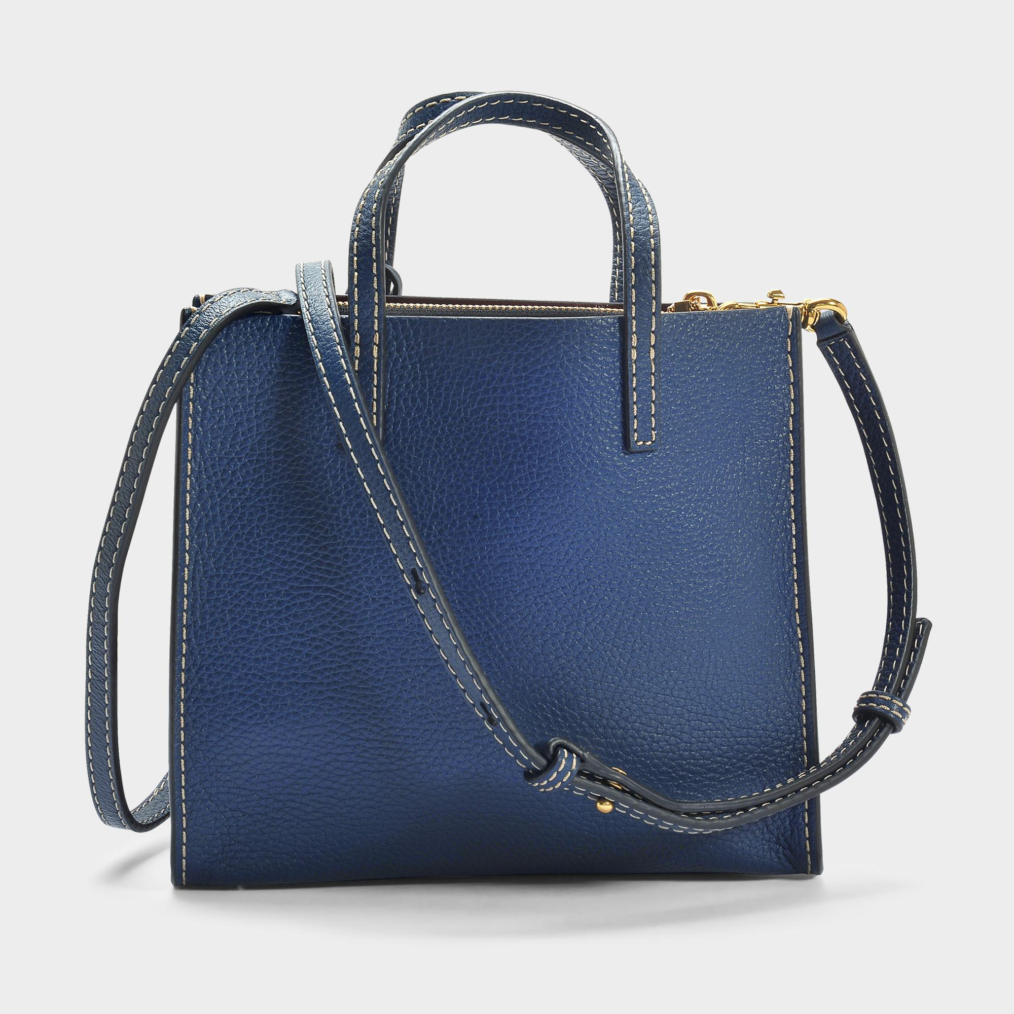 Marc Jacobs The Mini Grind Tote Bag In White Glow Cow Leather in Blue