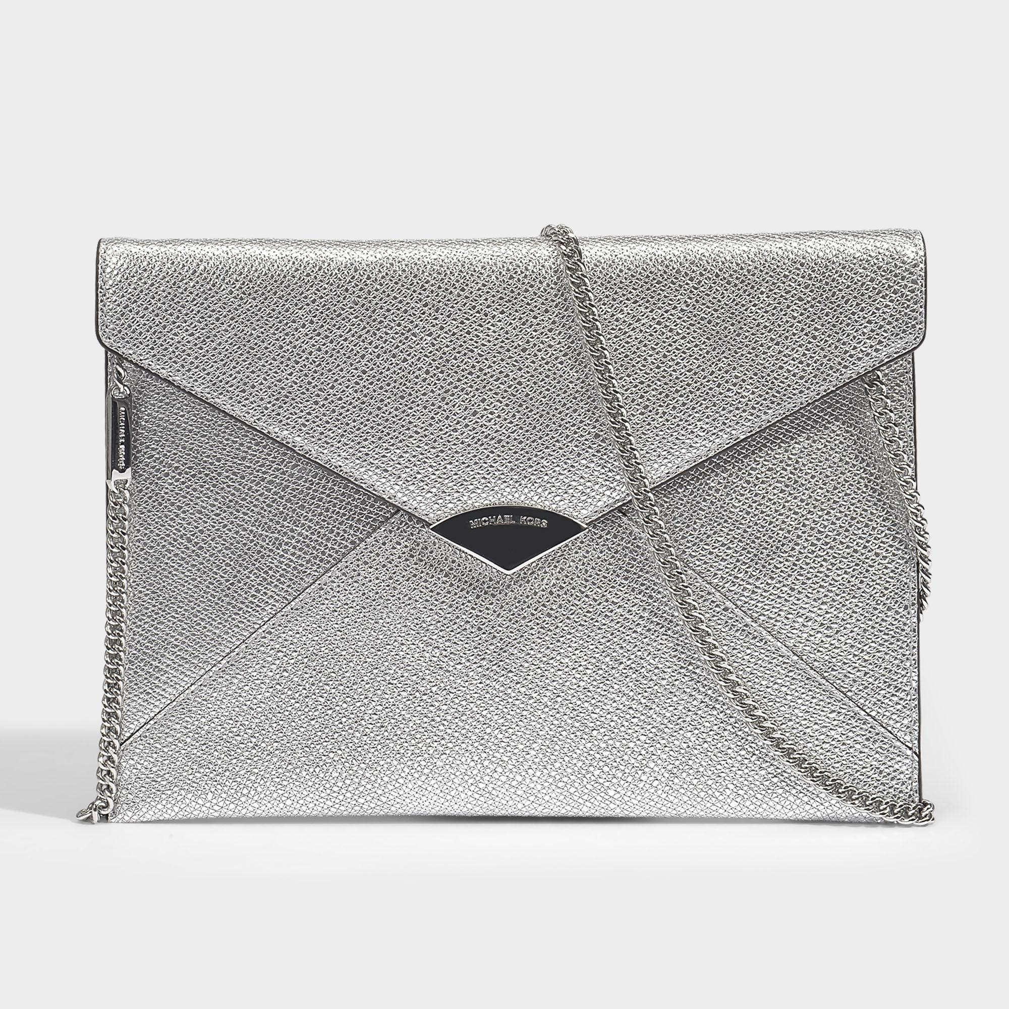 Barbara Large Soft Envelope Clutch in Black Metallic Calfskin Leather Michael Michael Kors E6RGp