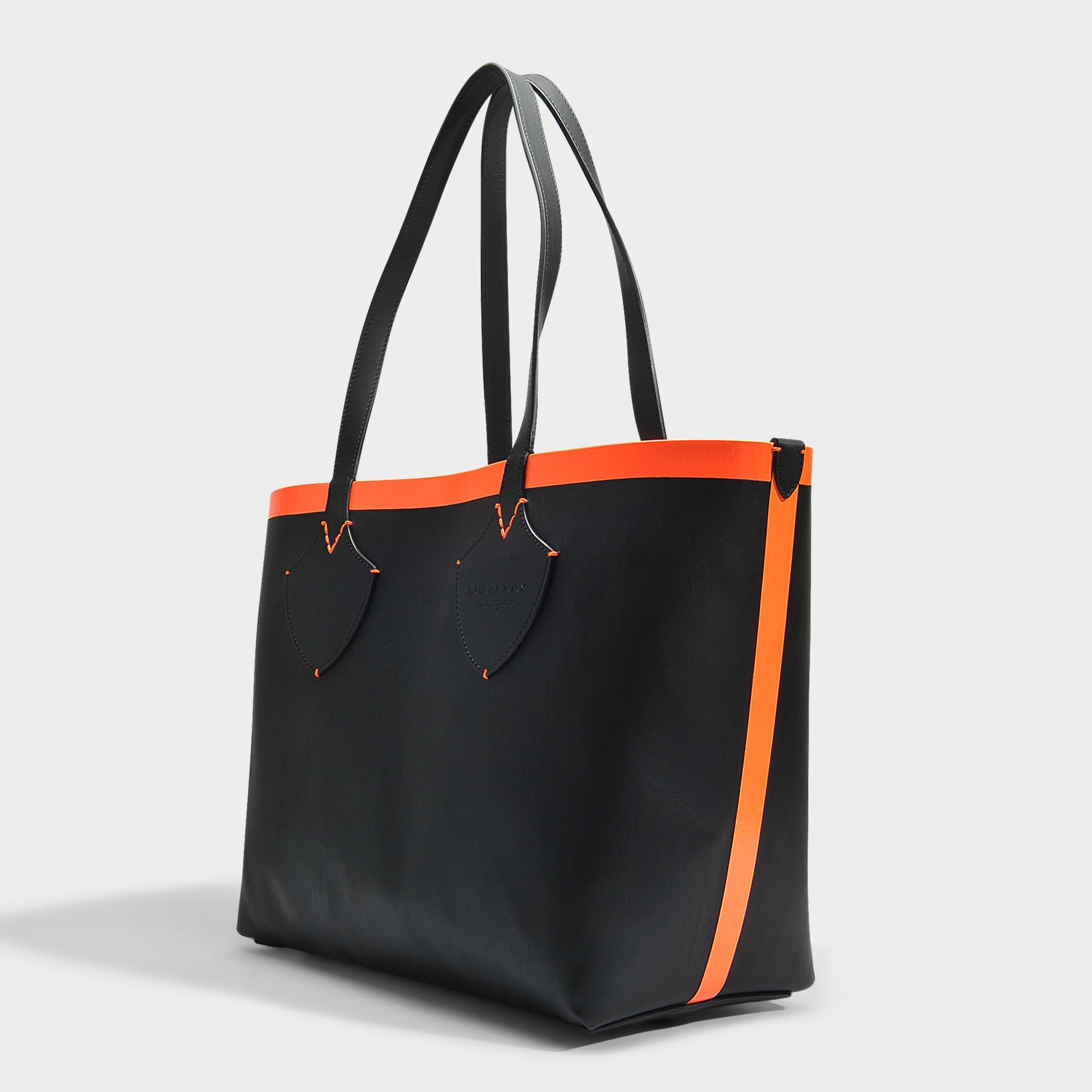 Medium Check Tote Bag in Black and Neon Orange Canvas and Calfskin Burberry 8dAyeP7O
