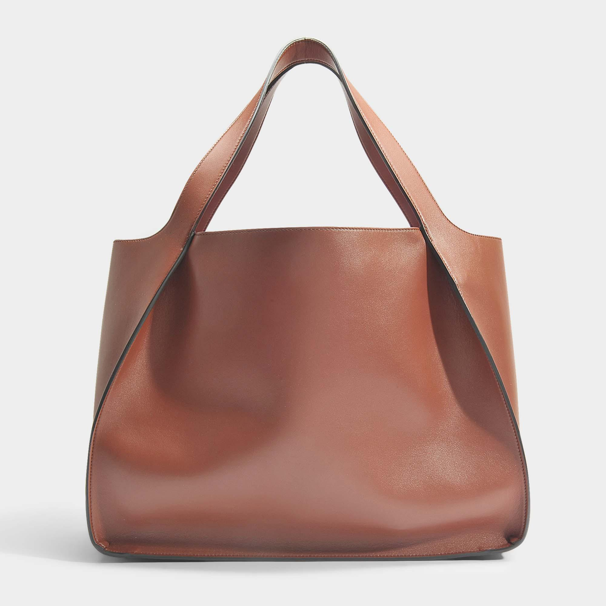 63eb8a0c55a7 Lyst - Stella Mccartney Logo Bag Alter Nappa Small Tote In Brown ...