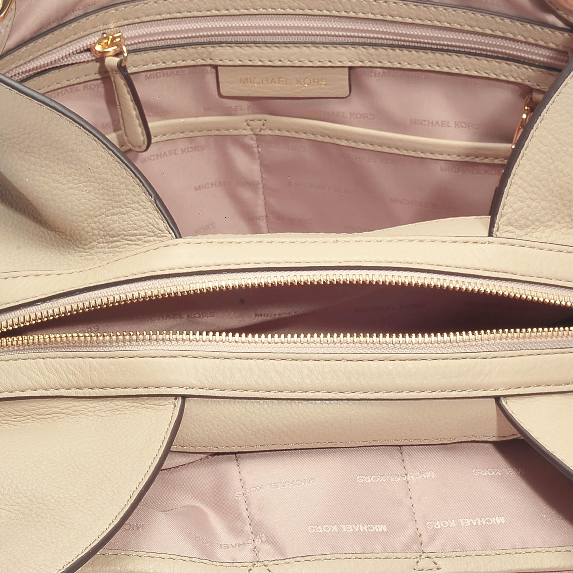 MICHAEL Michael Kors Leather Raven Large Shoulder Tote Bag In Oat Small Pebble