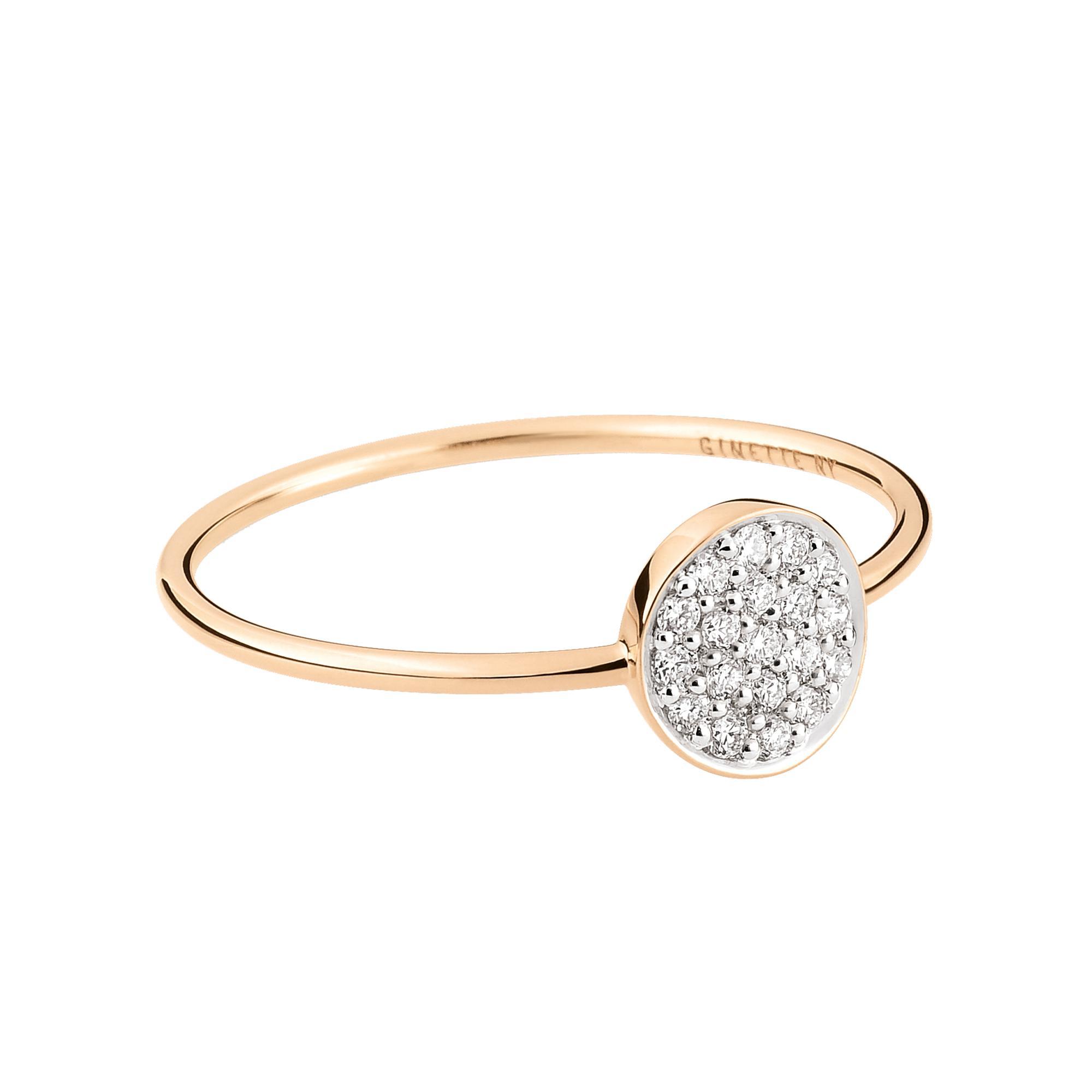 Mini Straw Diamond 18-karat rose gold ring Ginette NY Tc0DN