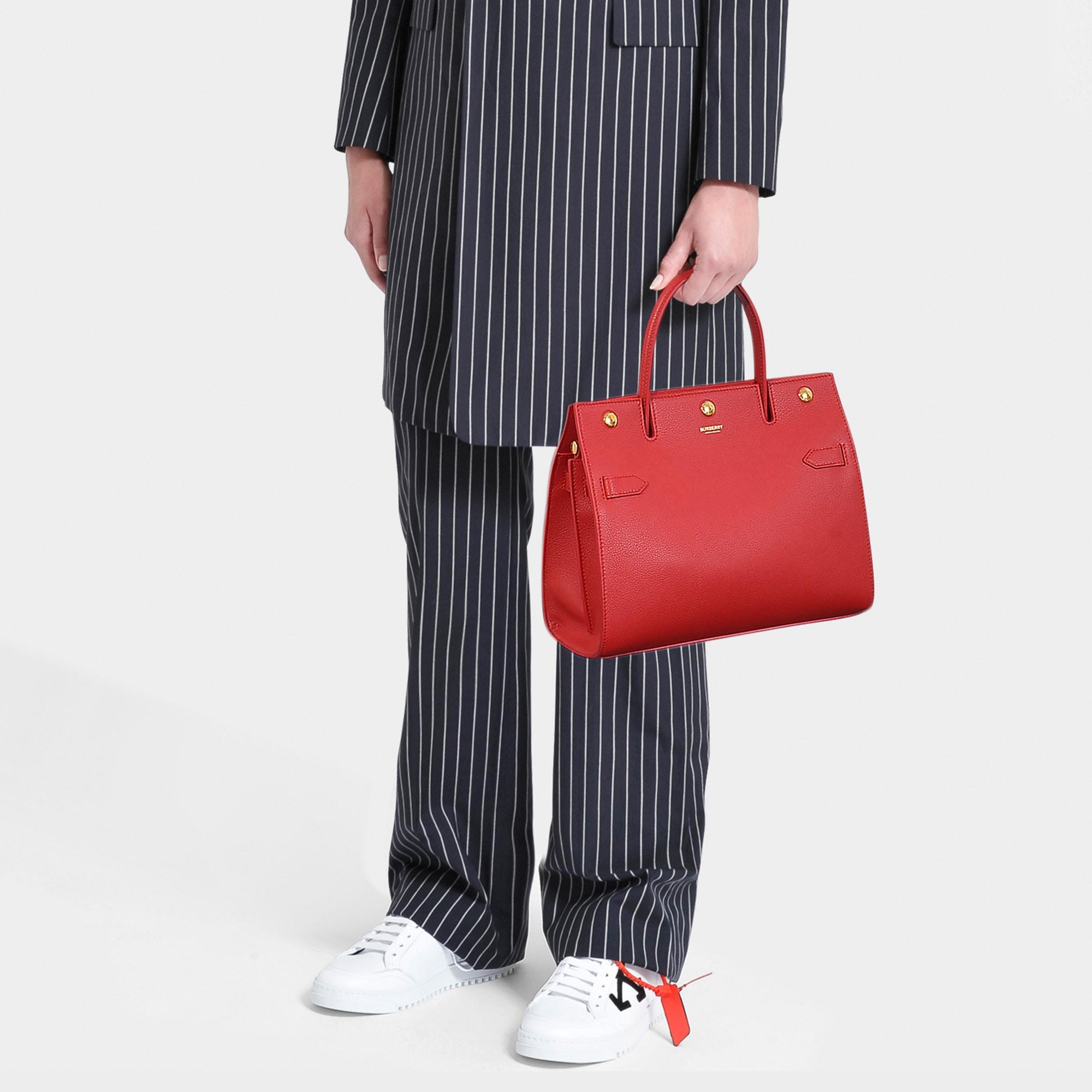 Burberry Small Bar Leather Tote Bag in Black (Red) - Save 47% - Lyst