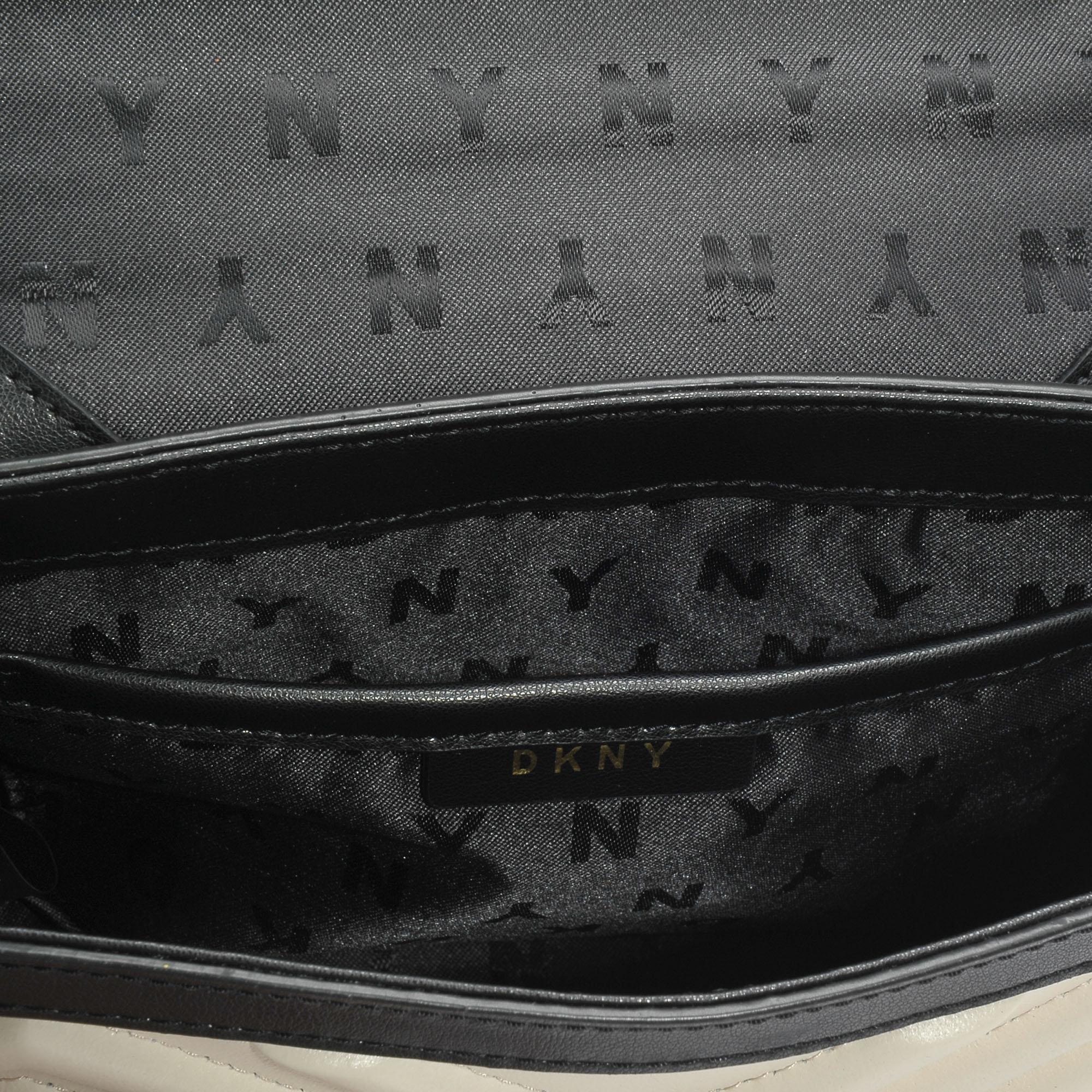 DKNY Leather Sharon Flap Crossbody Bag In Black Ivory Lamb Nappa