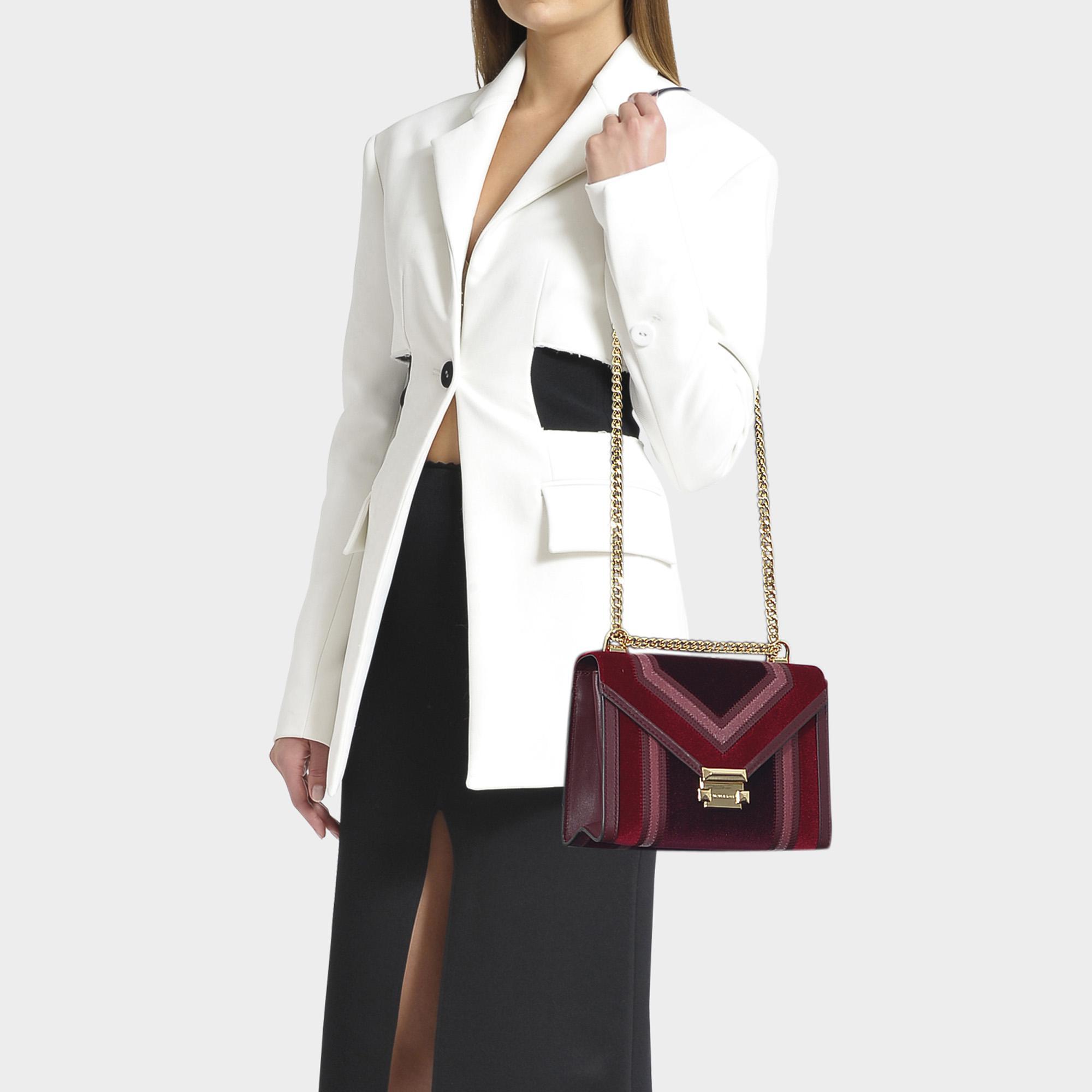 Whitney Large Shoulder Bag In Burgundy Velvet