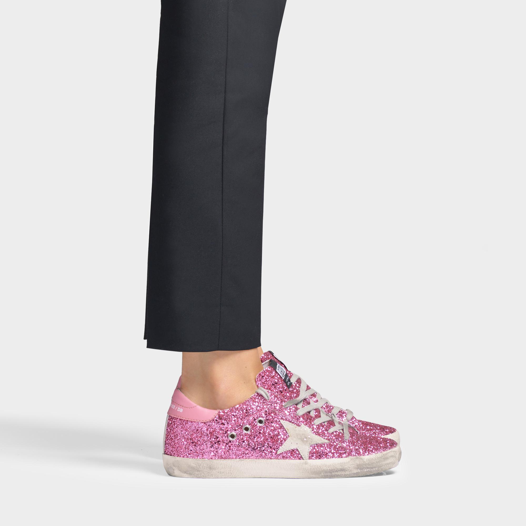 Golden Goose Leather Superstar Sneakers In Pink Glitter Calfskin ...