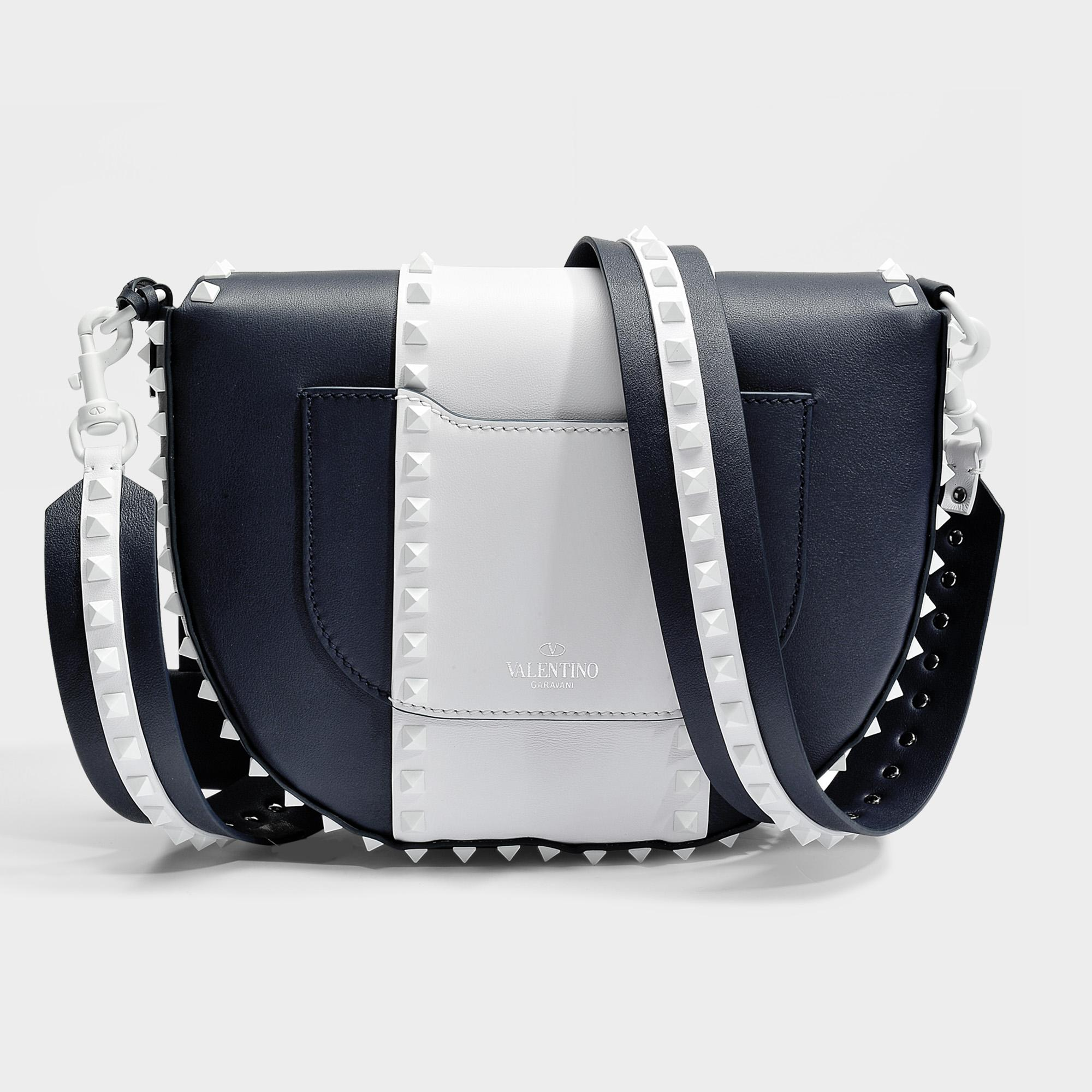 Free Rockstud Saddle Bag in Marine and White Calfskin Valentino EmAMxwO