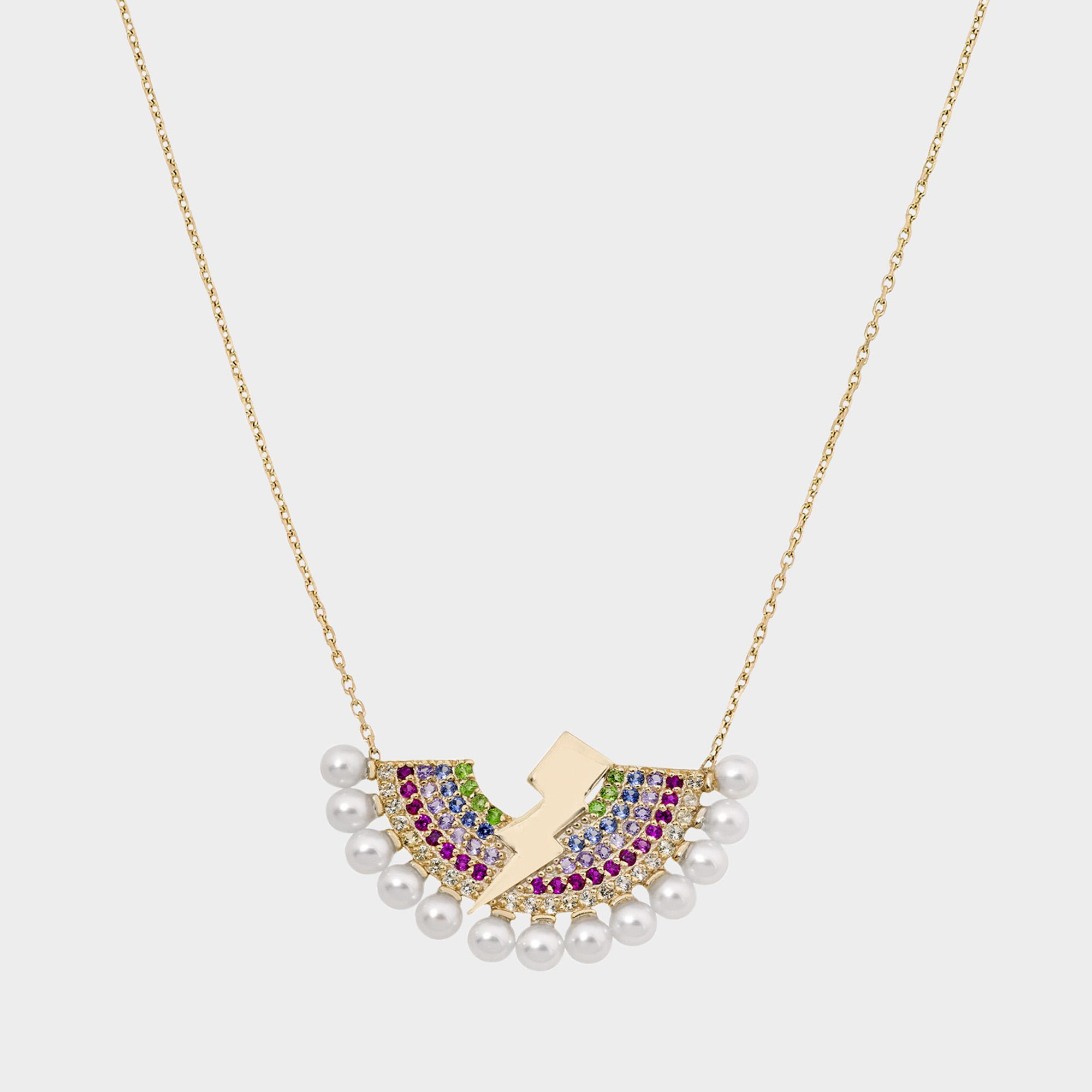 Mermaid Multicolour Necklace in 14K Gold and Precious Stones Anton Heunis VJZim