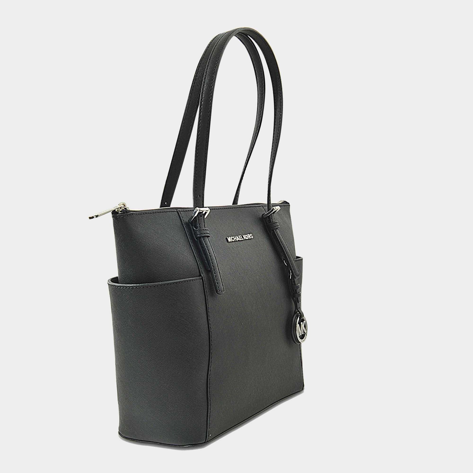 MICHAEL Michael Kors Leather Jet Set Item East/west Top Zip Tote Bag In Black Grained Calfskin