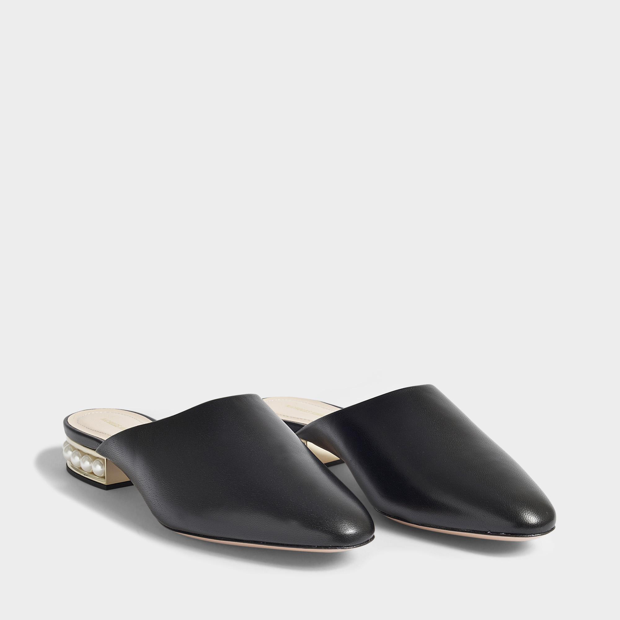 18mm Casati Pearl Slippers in Black Nappa Leather Nicholas Kirkwood l21BNJaXf