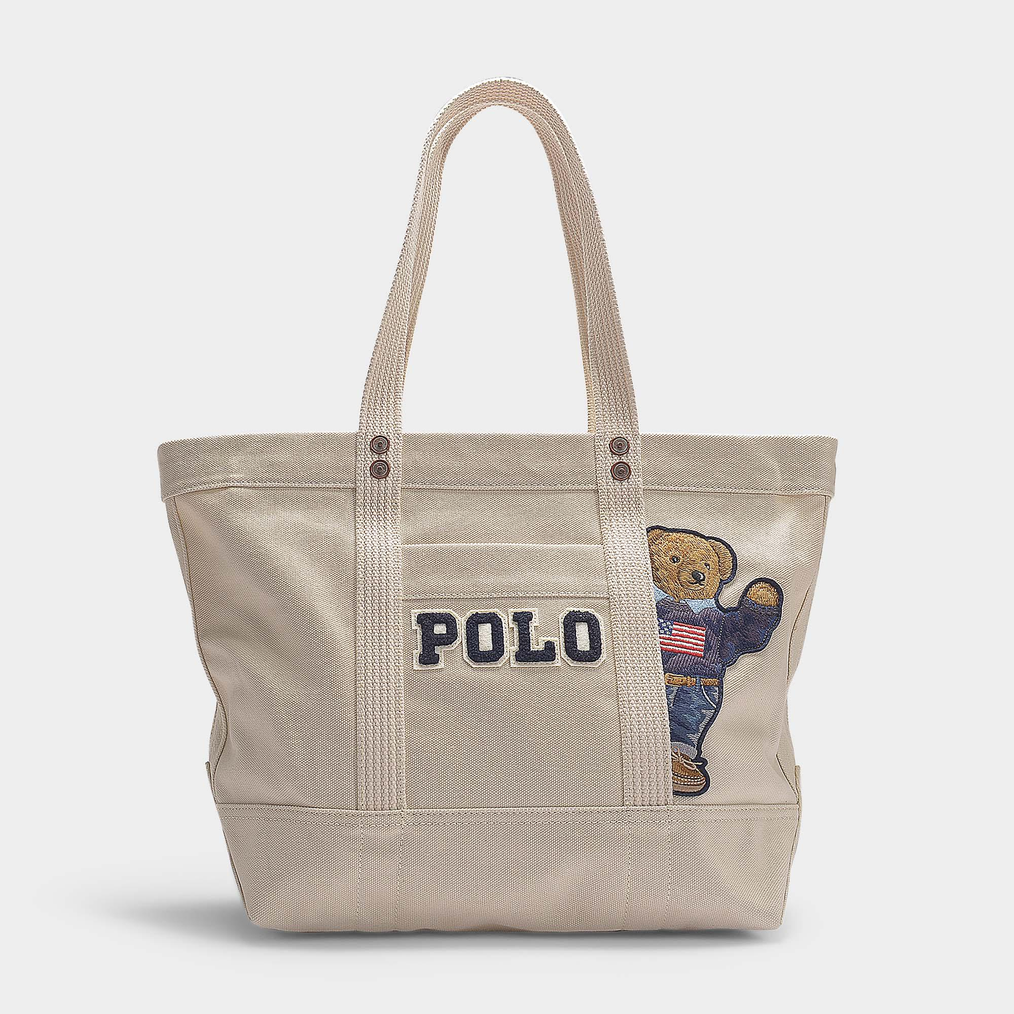 983976876812 Lyst - Polo Ralph Lauren Small Pp Tote Teddy Bear In Cream Canvas in ...