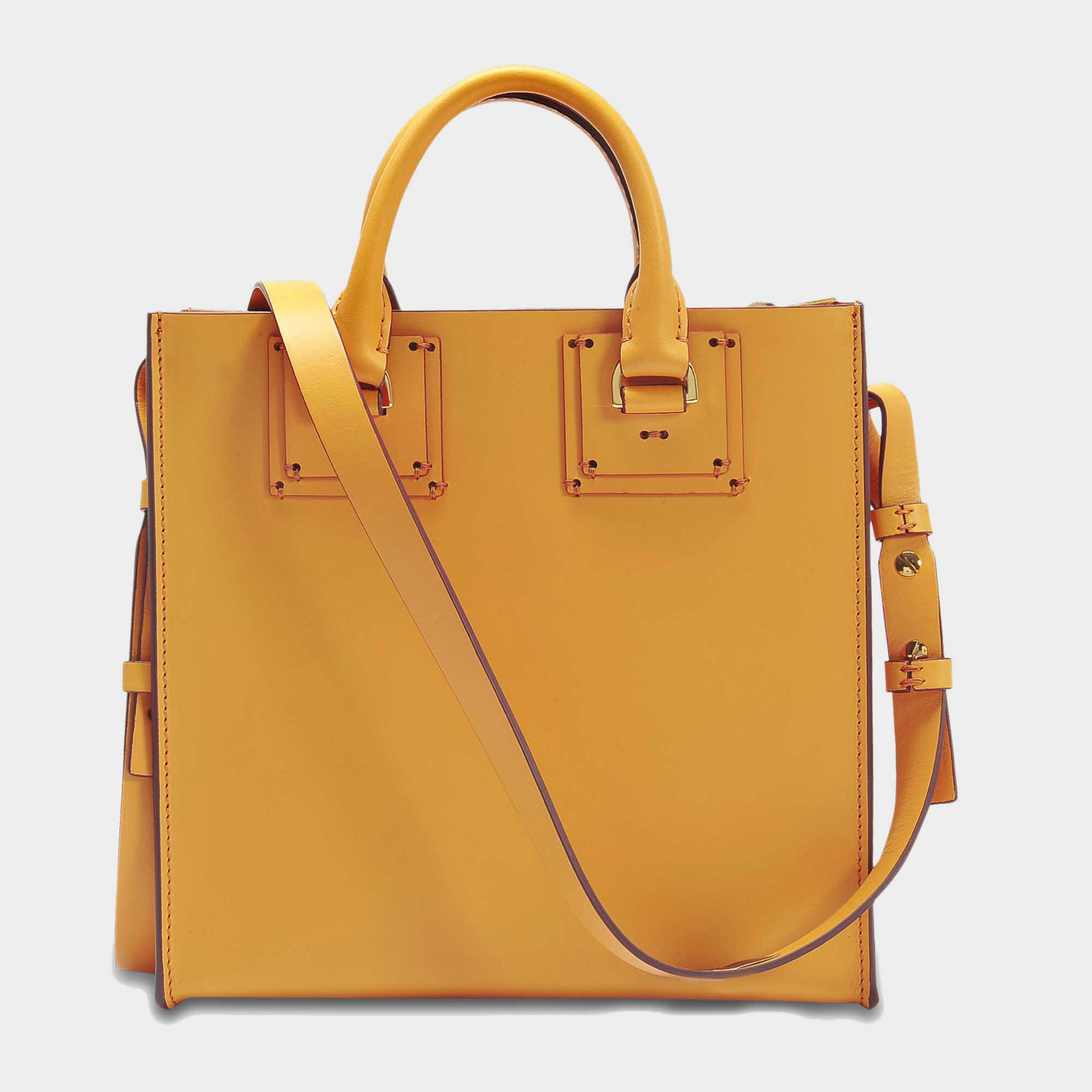 Sophie Hulme Square Albion Tote Bag In Dark Butter Cowhide Leather