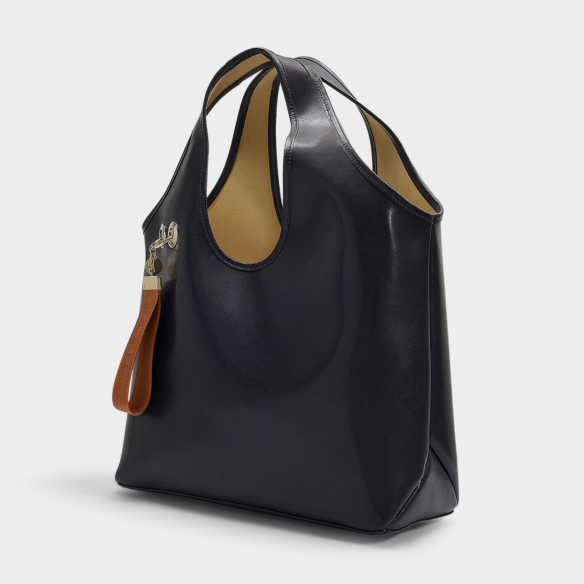 Sac See Shopping En Chloé Lyst Cuir Noir Jay Coloris Ciré By 435RjLqA