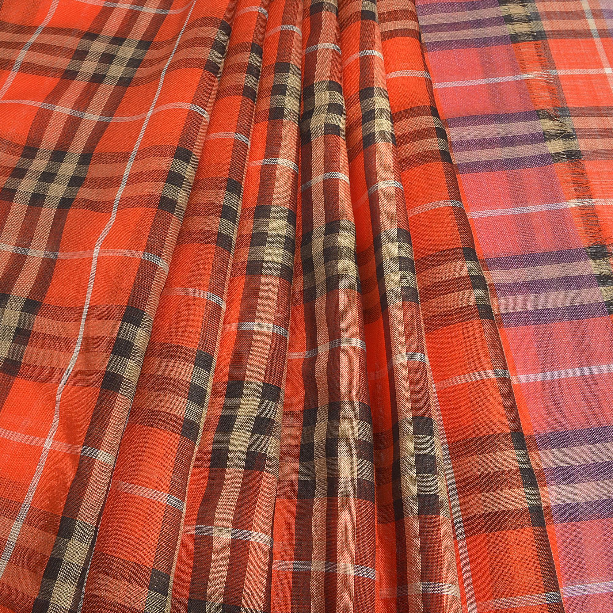 220X70 Vintage Check Gauze Scarf in Bright Orange Wool Burberry S4HvYczF