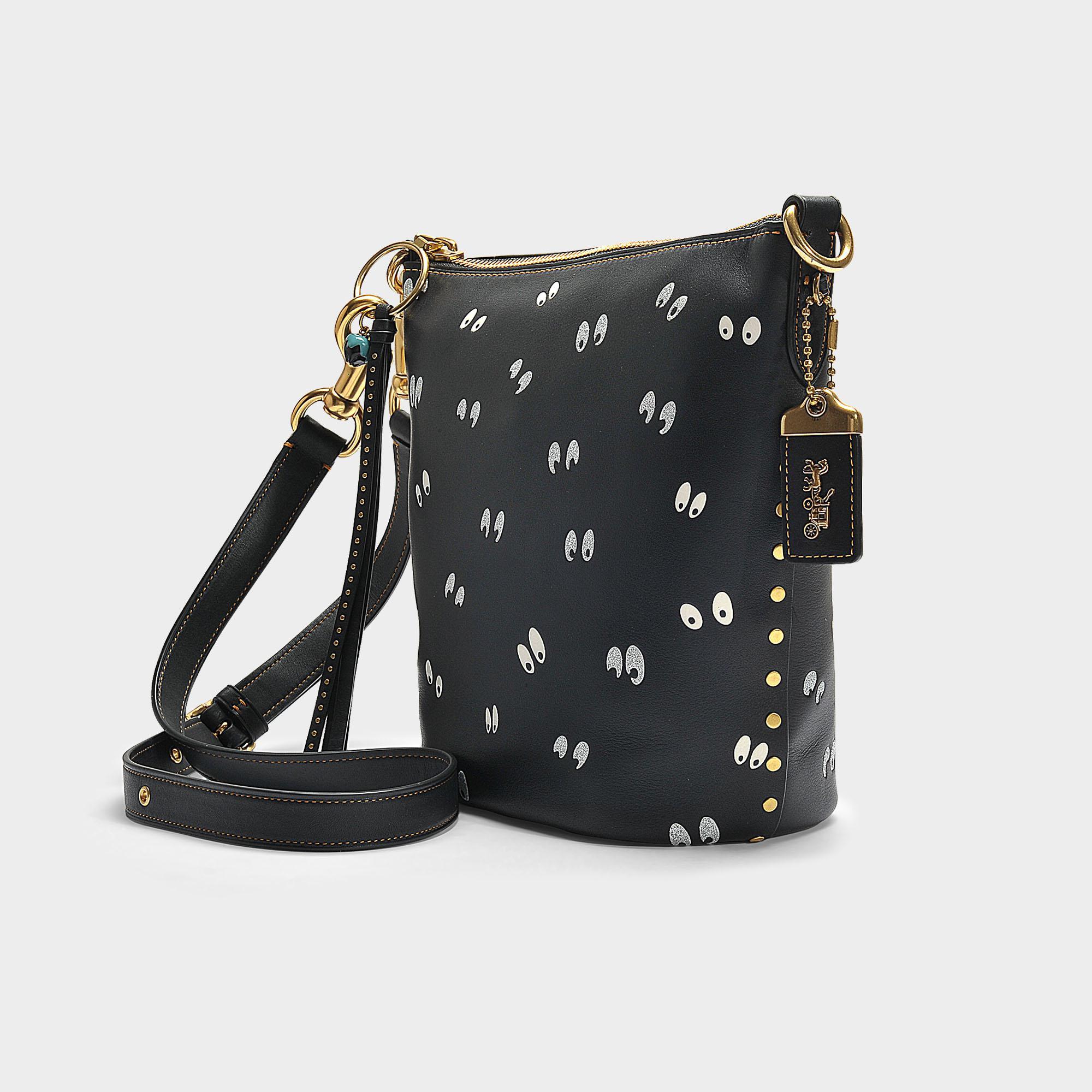 86f13b951a15 COACH Spooky Eyes Print Duffle 20 Bag In Black Calfskin - Lyst