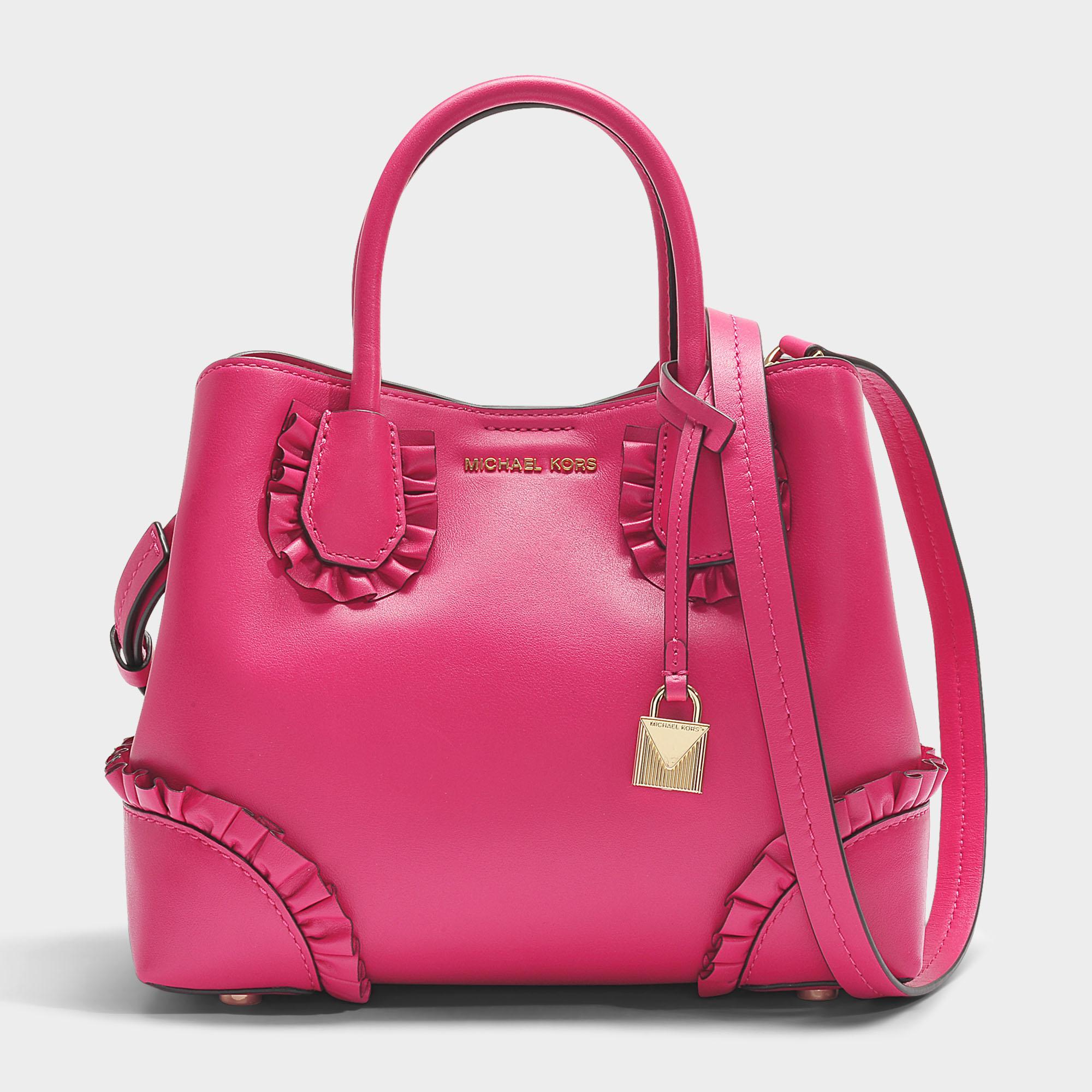 michael michael kors mercer gallery small center zip satchel bag in ultra pink polisher leather. Black Bedroom Furniture Sets. Home Design Ideas