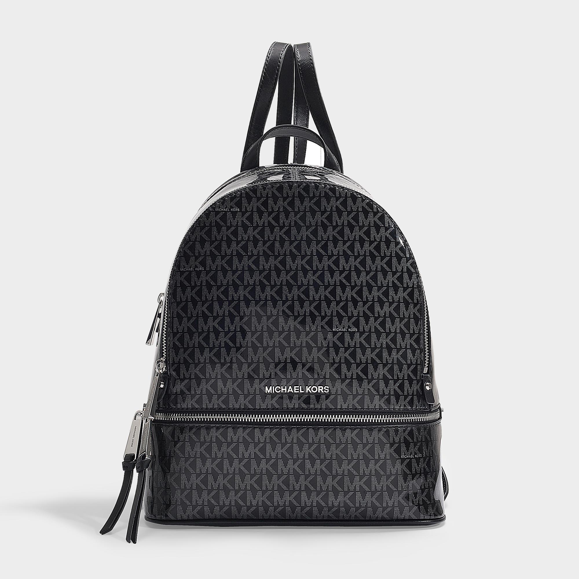 42a85a31feaf MICHAEL Michael Kors. Women's Rhea Zip Medium Backpack In Black And Silver  Pvc
