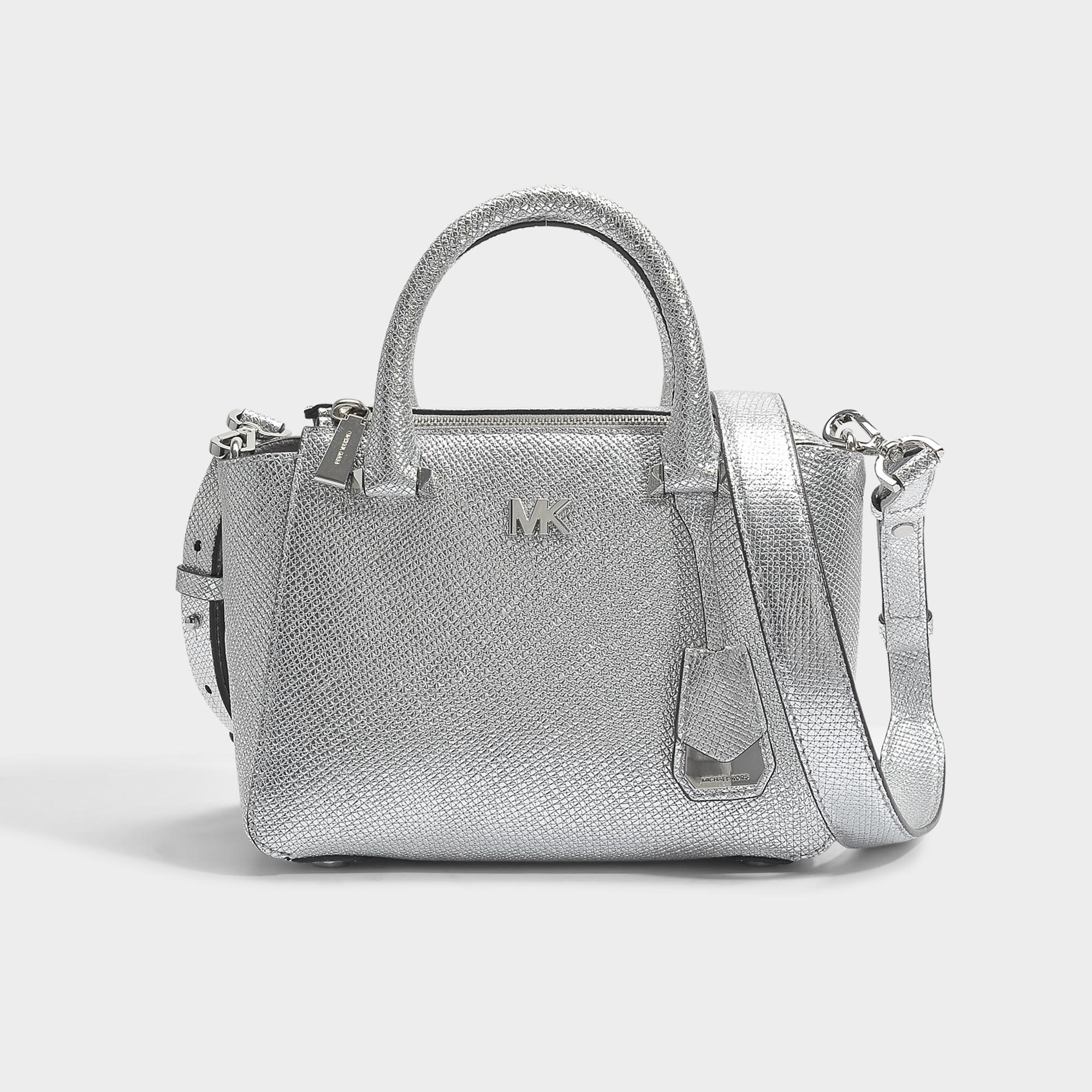 7d9a6e9bd1d3 Lyst - MICHAEL Michael Kors Nolita Mini Messenger Bag In Silver ...