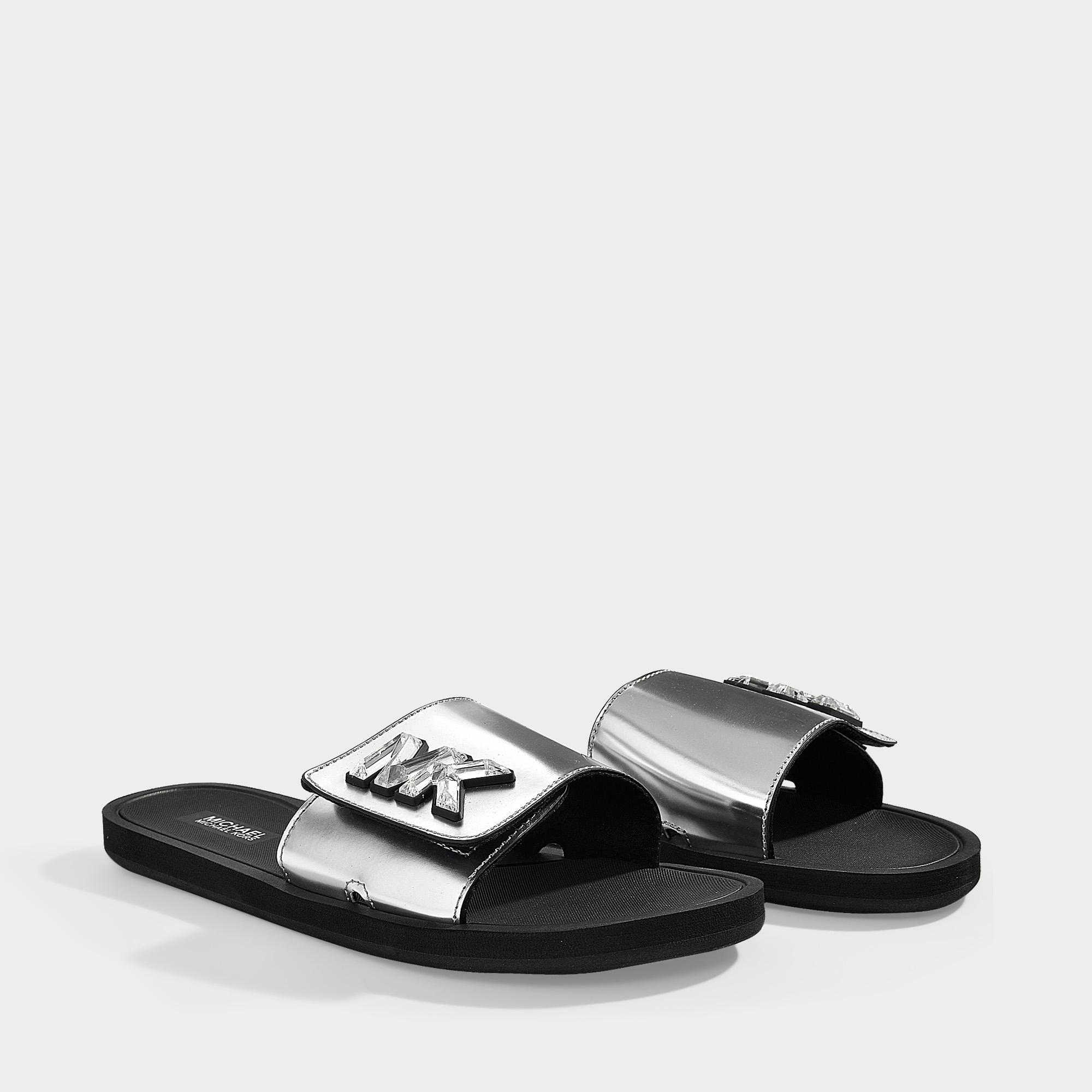 a055b9dd9c9b MICHAEL Michael Kors - Gray Mk Slides In Silver Mirror Metallic Material  And Crystals - Lyst. View fullscreen