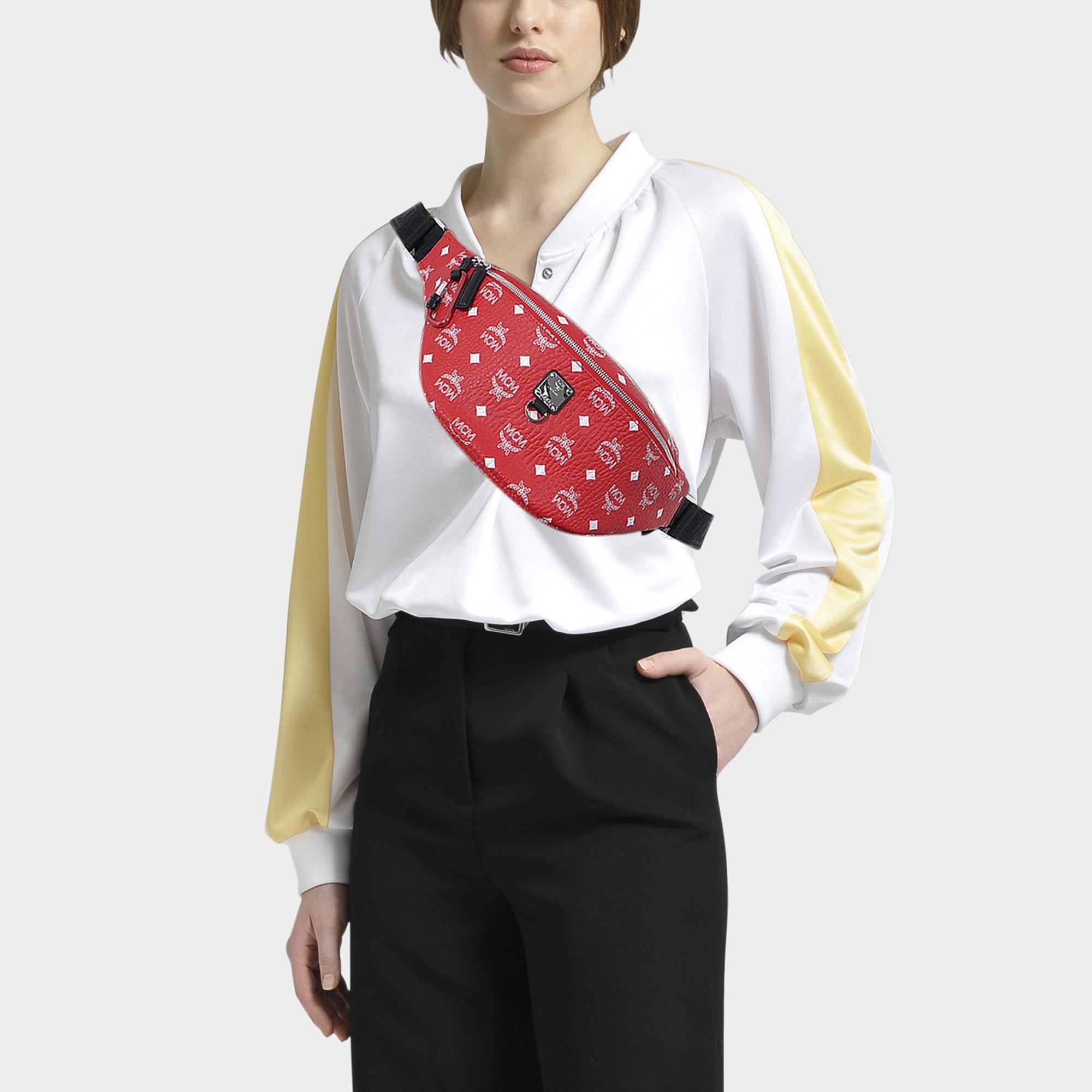 70f0a07539e95 MCM Fursten White Logo Visetos Medium Belt Bag In White Logo Viva ...