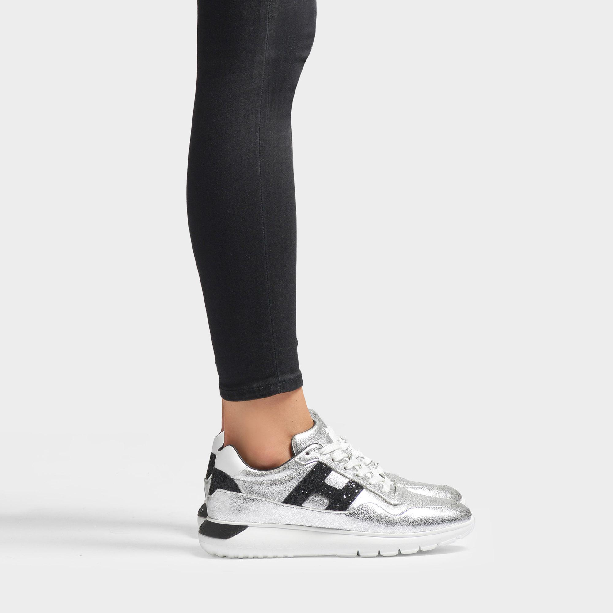 Hogan Interactive Cube Sneakers In Silver And Black Leather - Lyst