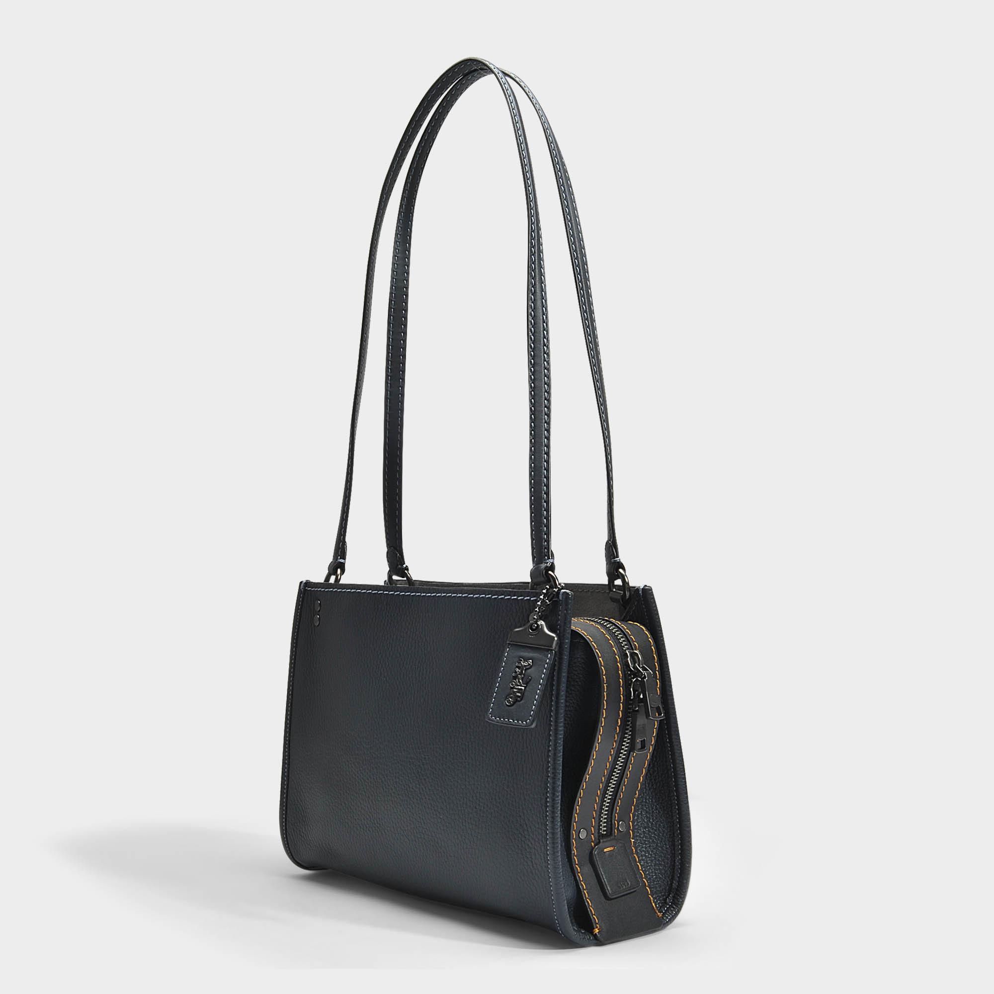 ce391a084f COACH Blue Rogue Shoulder Bag In Midnight Navy Calfskin