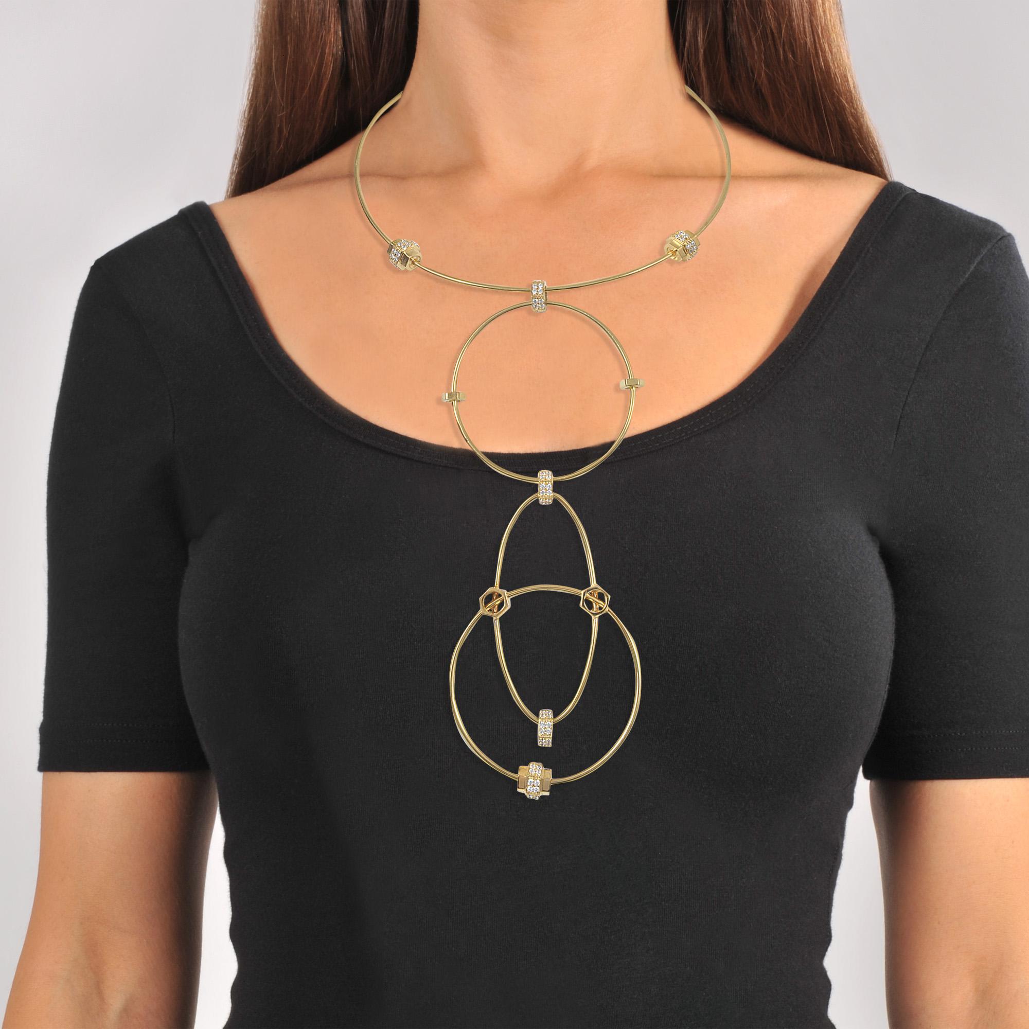Lyst - Joanna Laura Constantine Wire Statement Necklace in Metallic