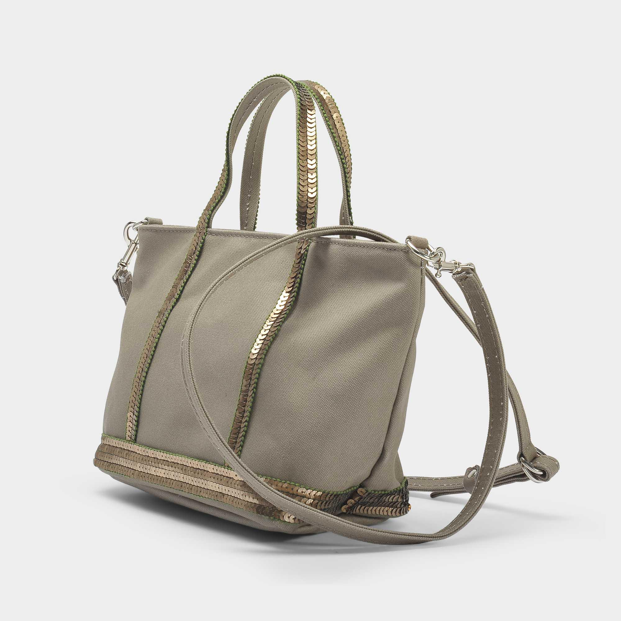 Vanessa Bruno Canvas And Sequins Baby Tote Bag In Safari Cotton