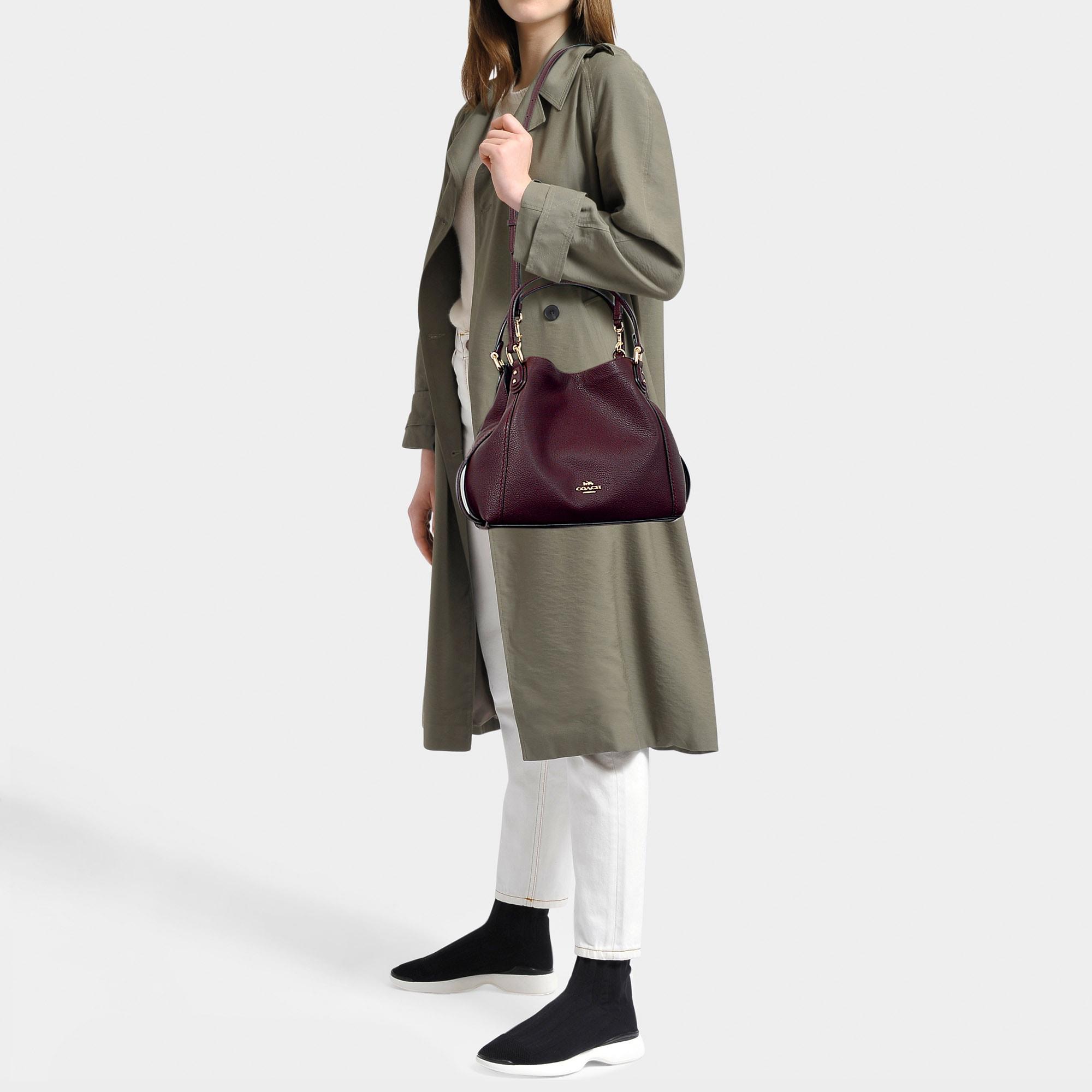 Polished Pebble Leather Edie 28 Shoulder Bag In Burgundy Calfskin