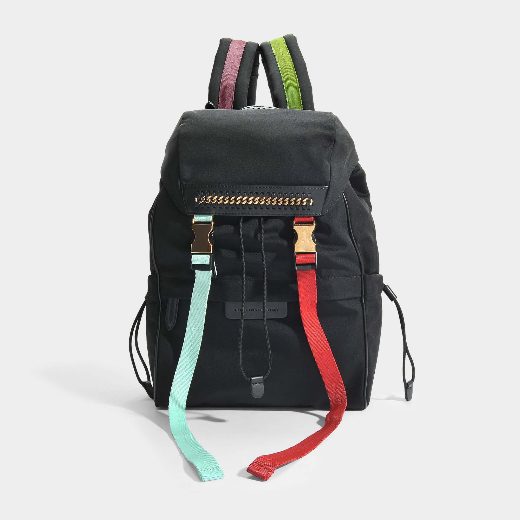 Stella Mccartney Eco Étoiles Nylon Falabella Vont Mini-sac À Dos En Polyester Noir Et Ivoire OE62Sk