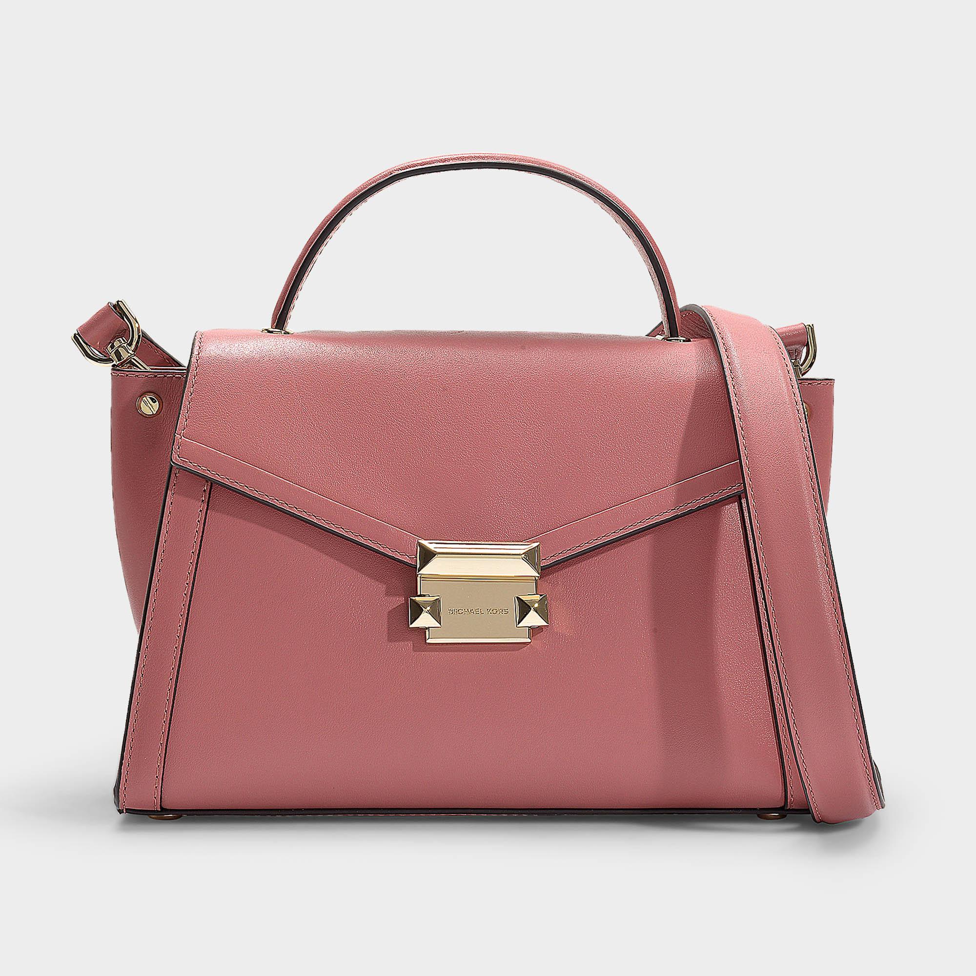 Whitney Medium Top Handle Satchel Bag In Rose Calfskin