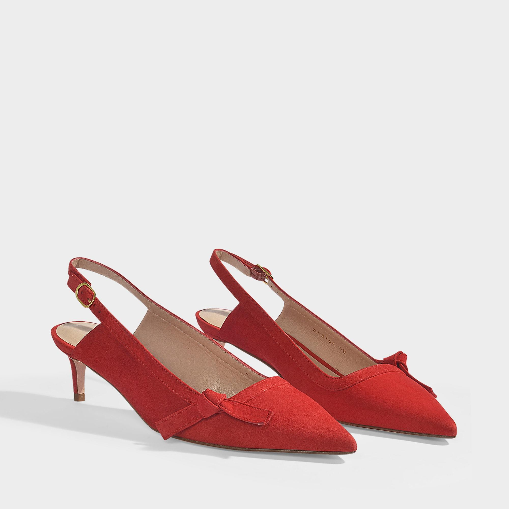3e763e558a14 Stuart Weitzman - Hayworth Slingbacks In Follow Me Red Suede - Lyst. View  fullscreen