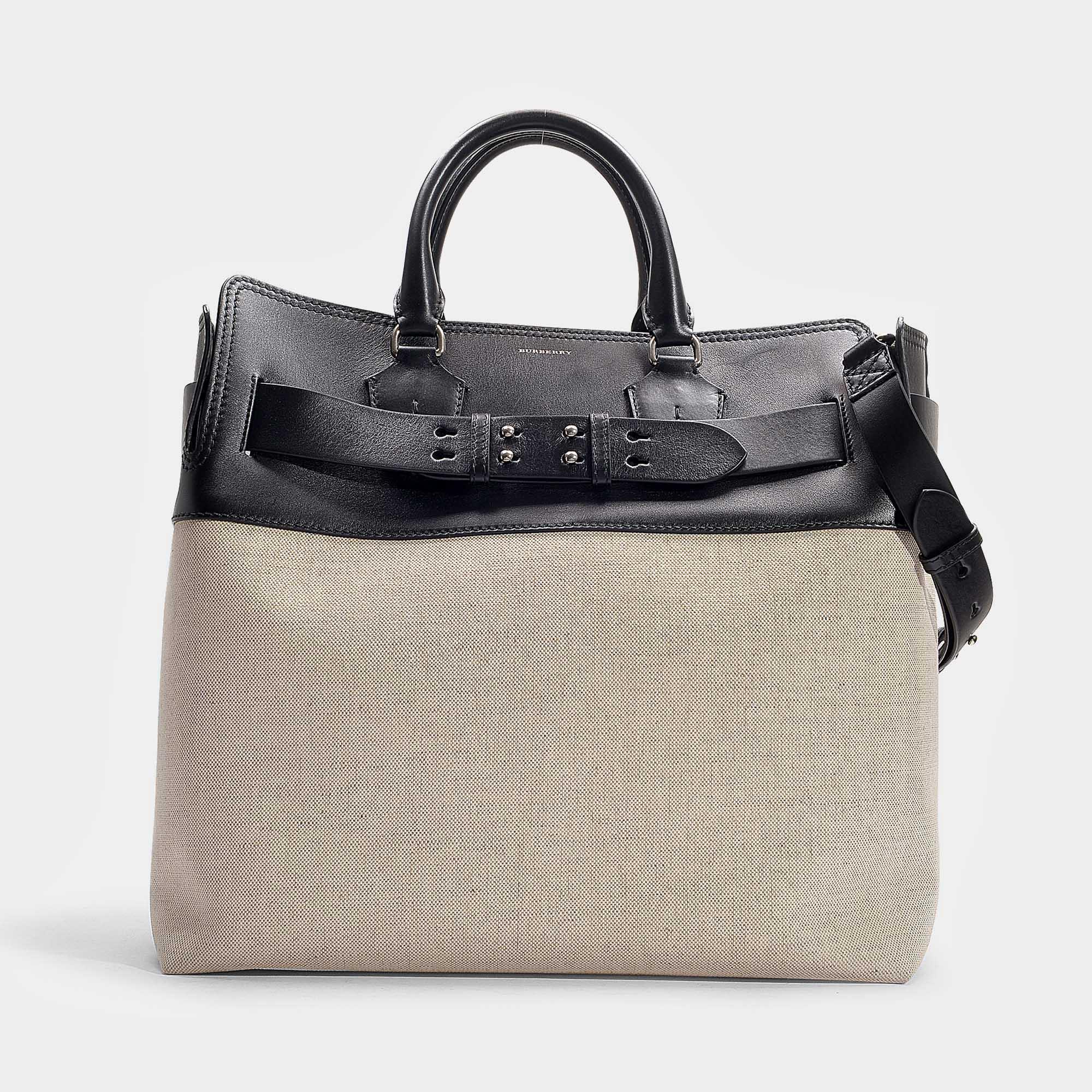 eca16a99a2b Lyst - Grand sac à main belt en cuir de veau noir Burberry en ...