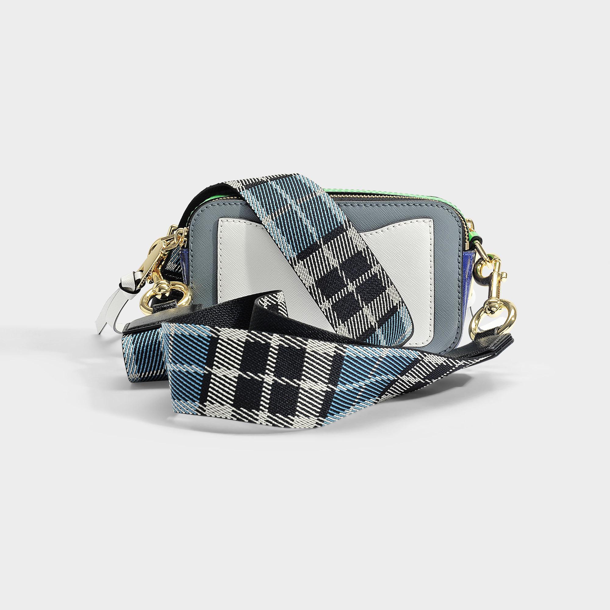 Marc Jacobs Snapshot Crossbody Bag In Multicolor Gray Polyurethane Coated Calfskin