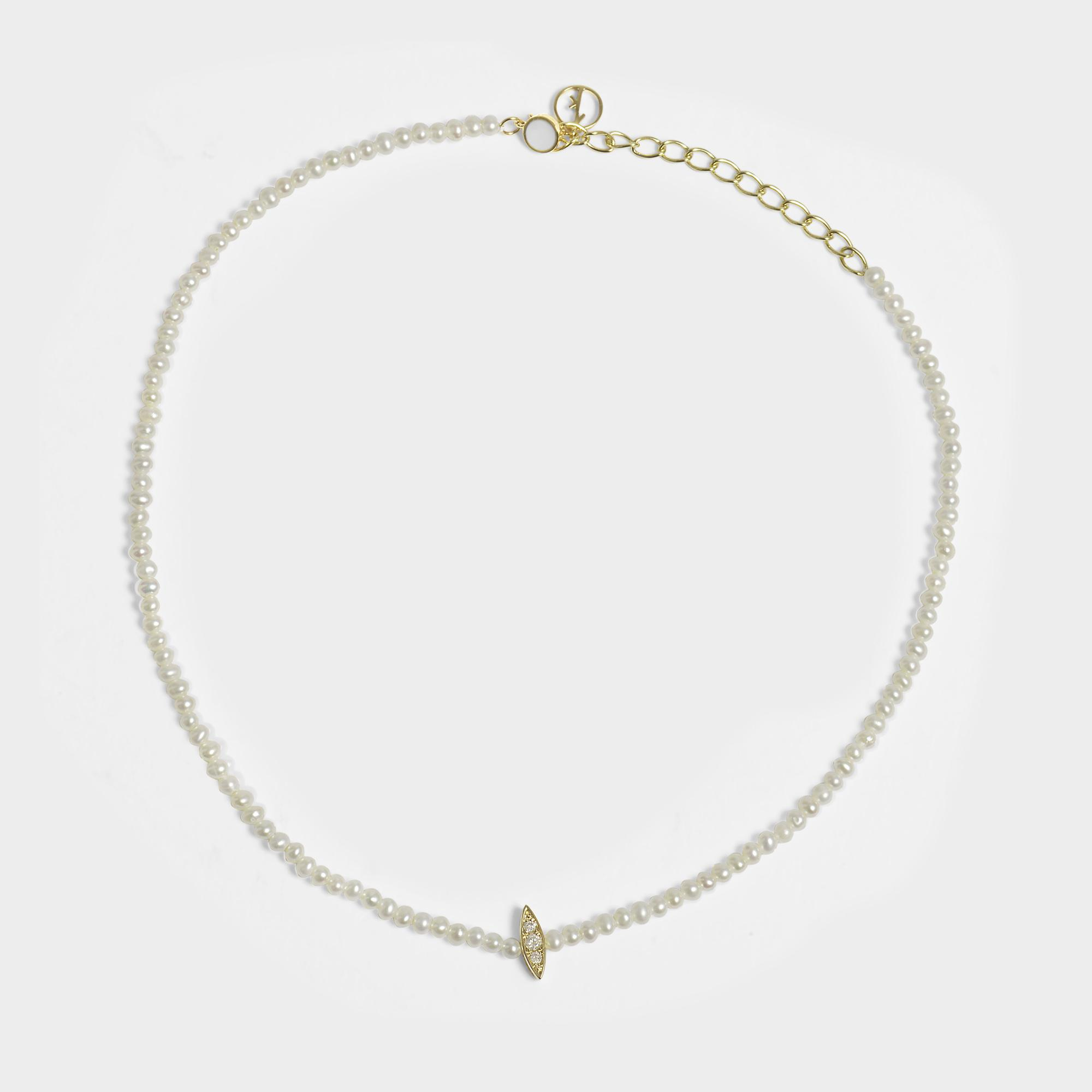 Anissa Kermiche Perle Rare Choker Necklace in 14K Yellow Gold and Diamonds Ofeng