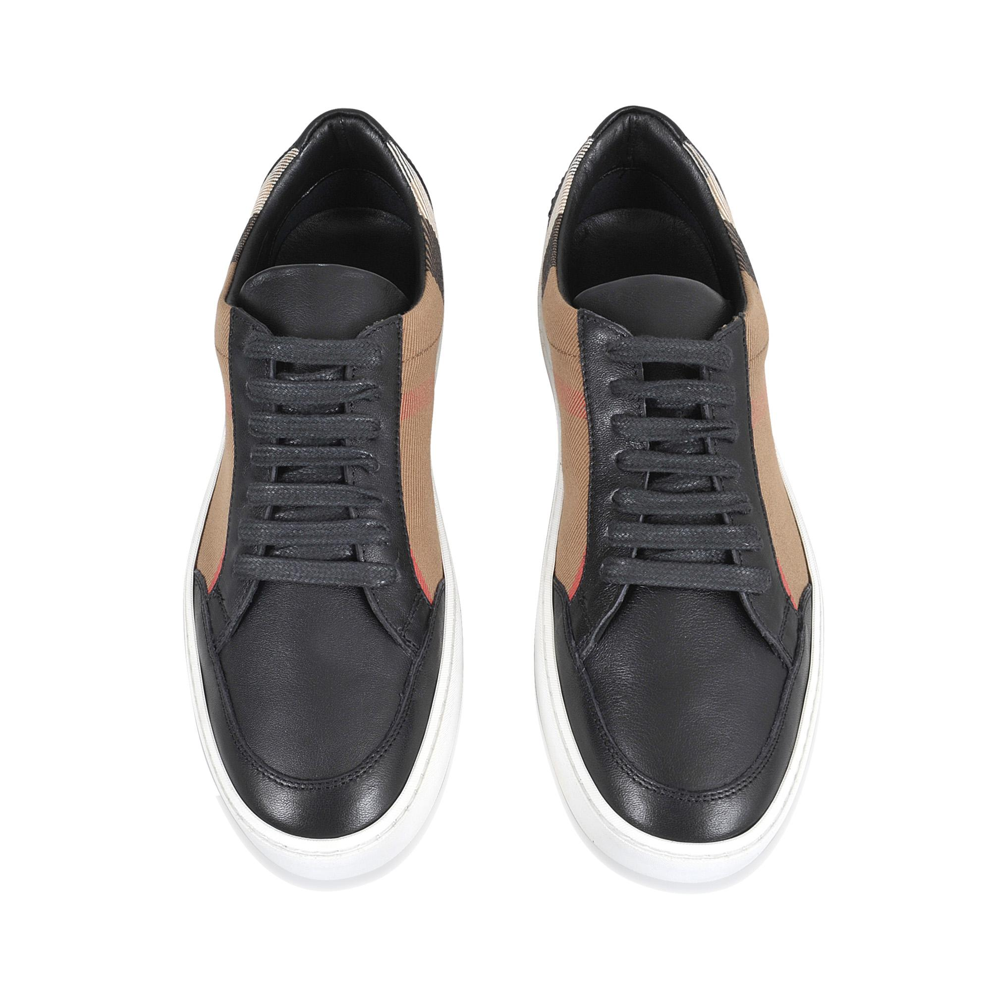 Burberry Salmond Classic Check Sneakers In Check Leather