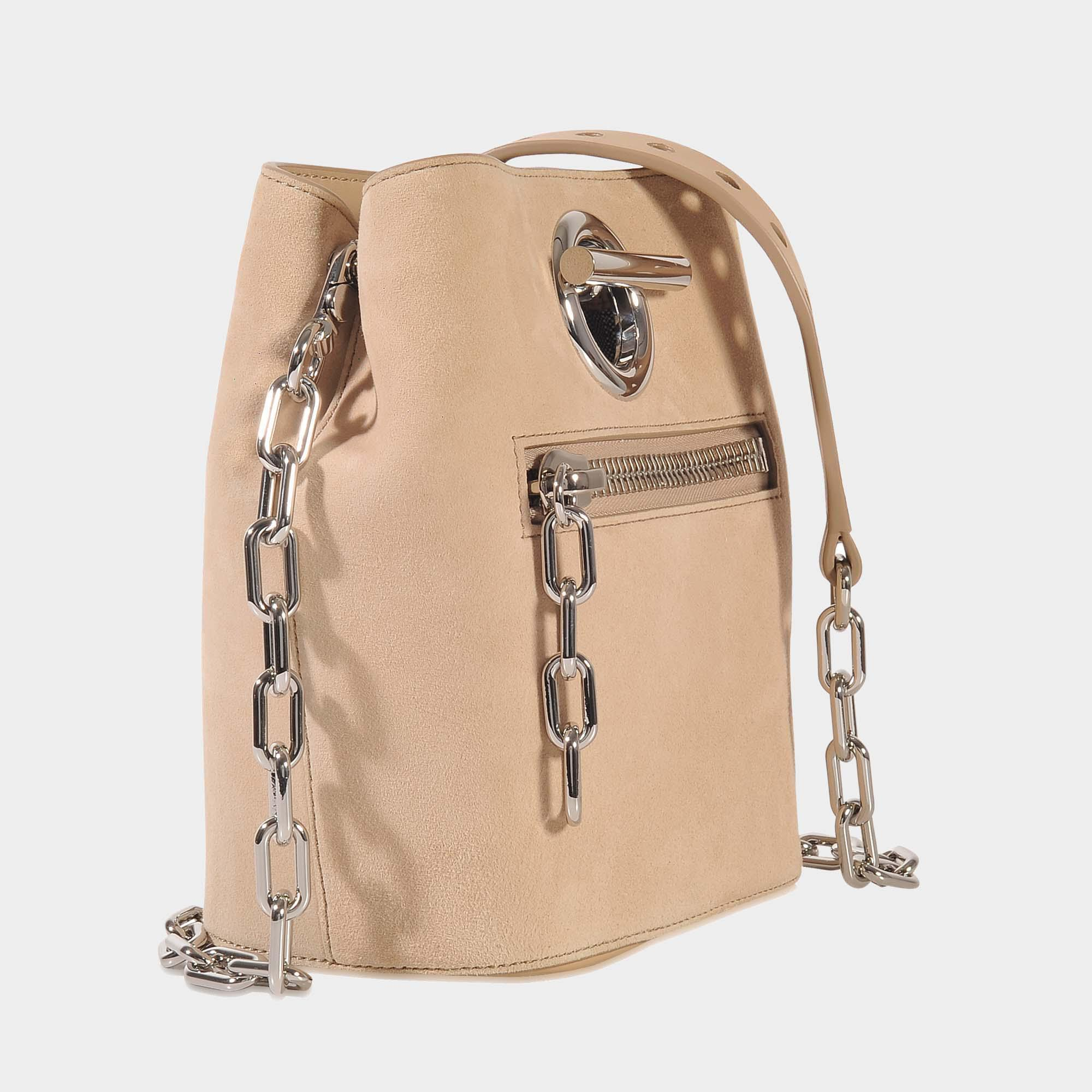 Alexander Wang Riot Crossbody Bag In Cashmere Goatskin Leather in Beige (Natural)